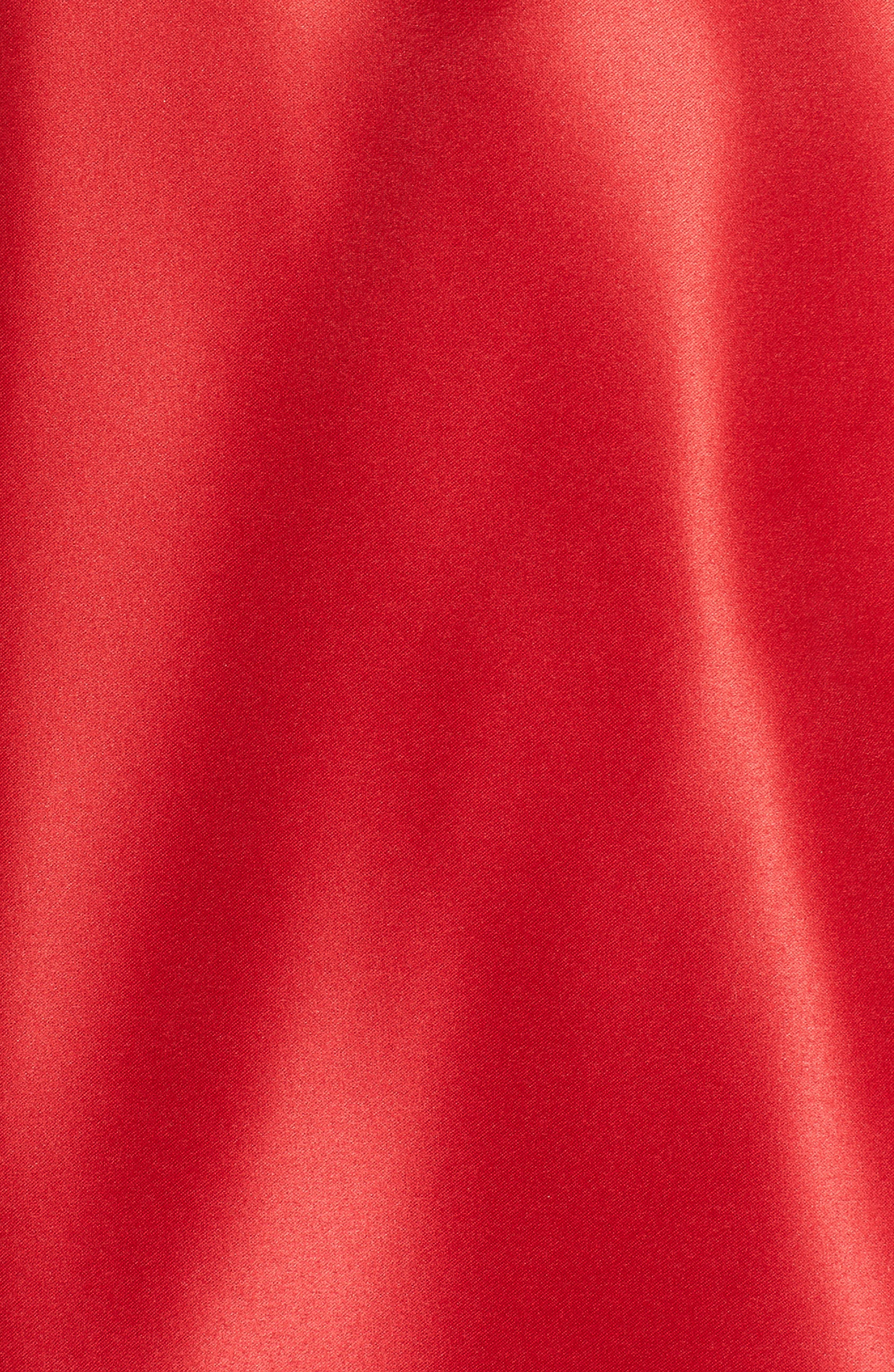 Strapless Satin Fit & Flare Party Dress,                             Alternate thumbnail 5, color,                             RED