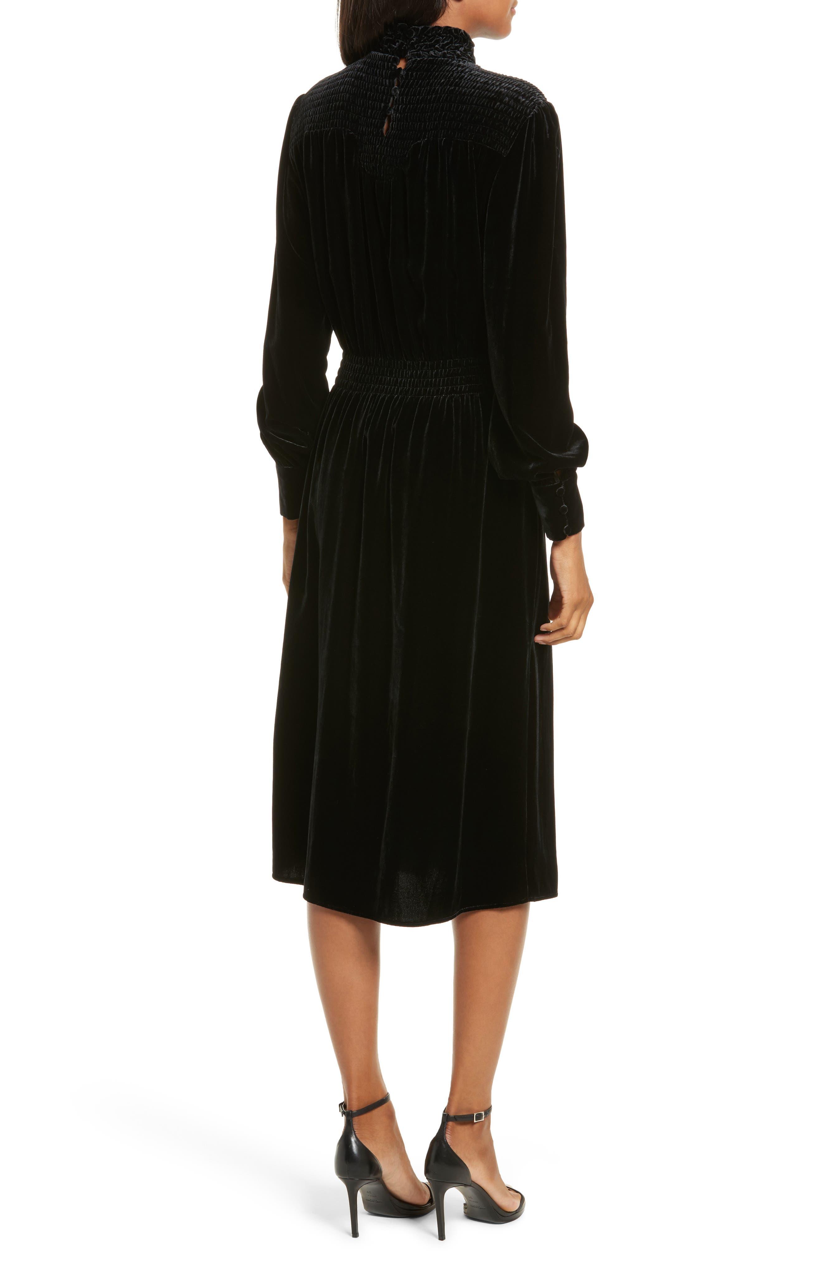 Smocked Velvet Midi Dress,                             Alternate thumbnail 2, color,