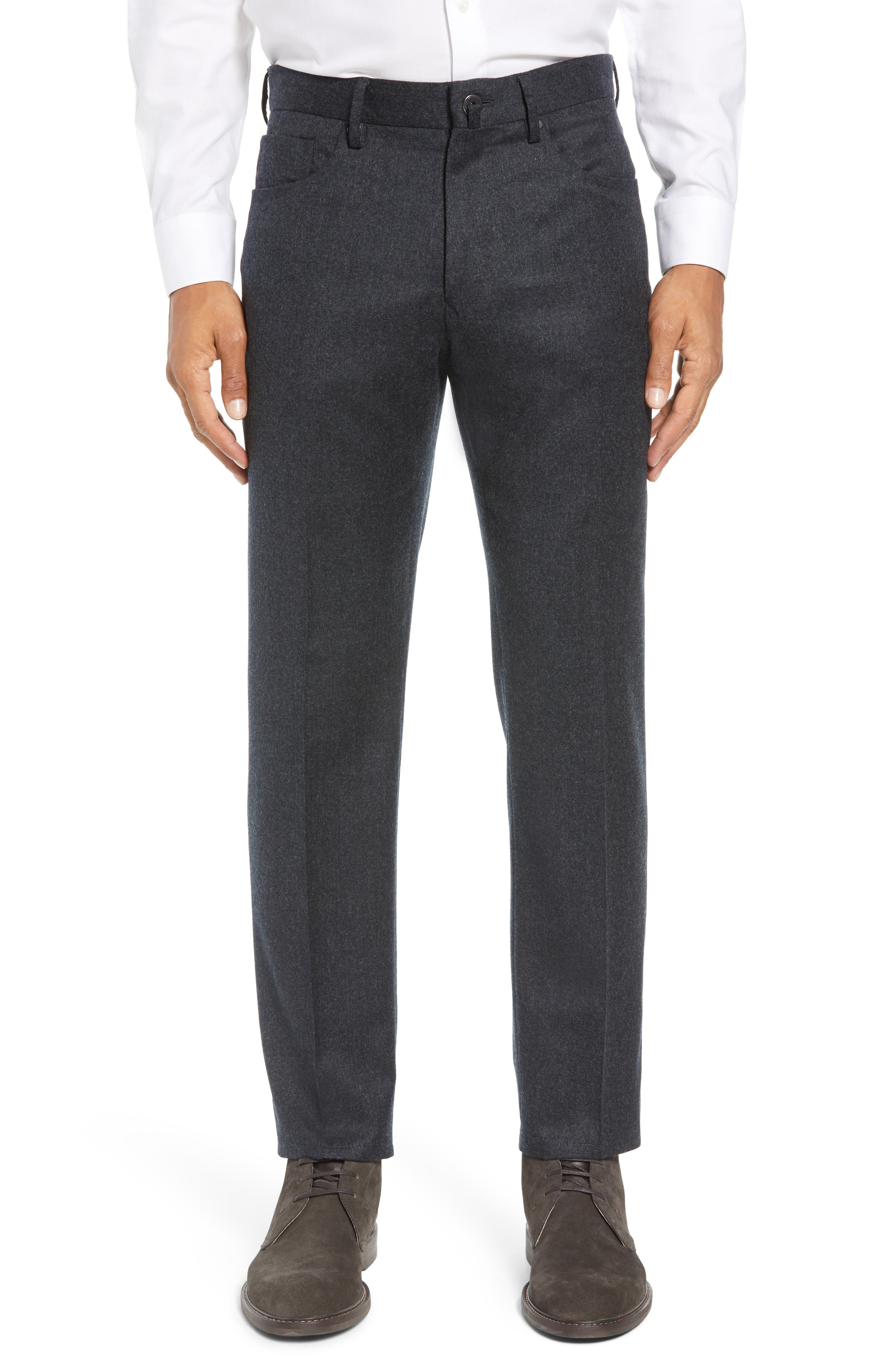 Five-Pocket Solid Wool Trousers,                         Main,                         color, CHARCOAL
