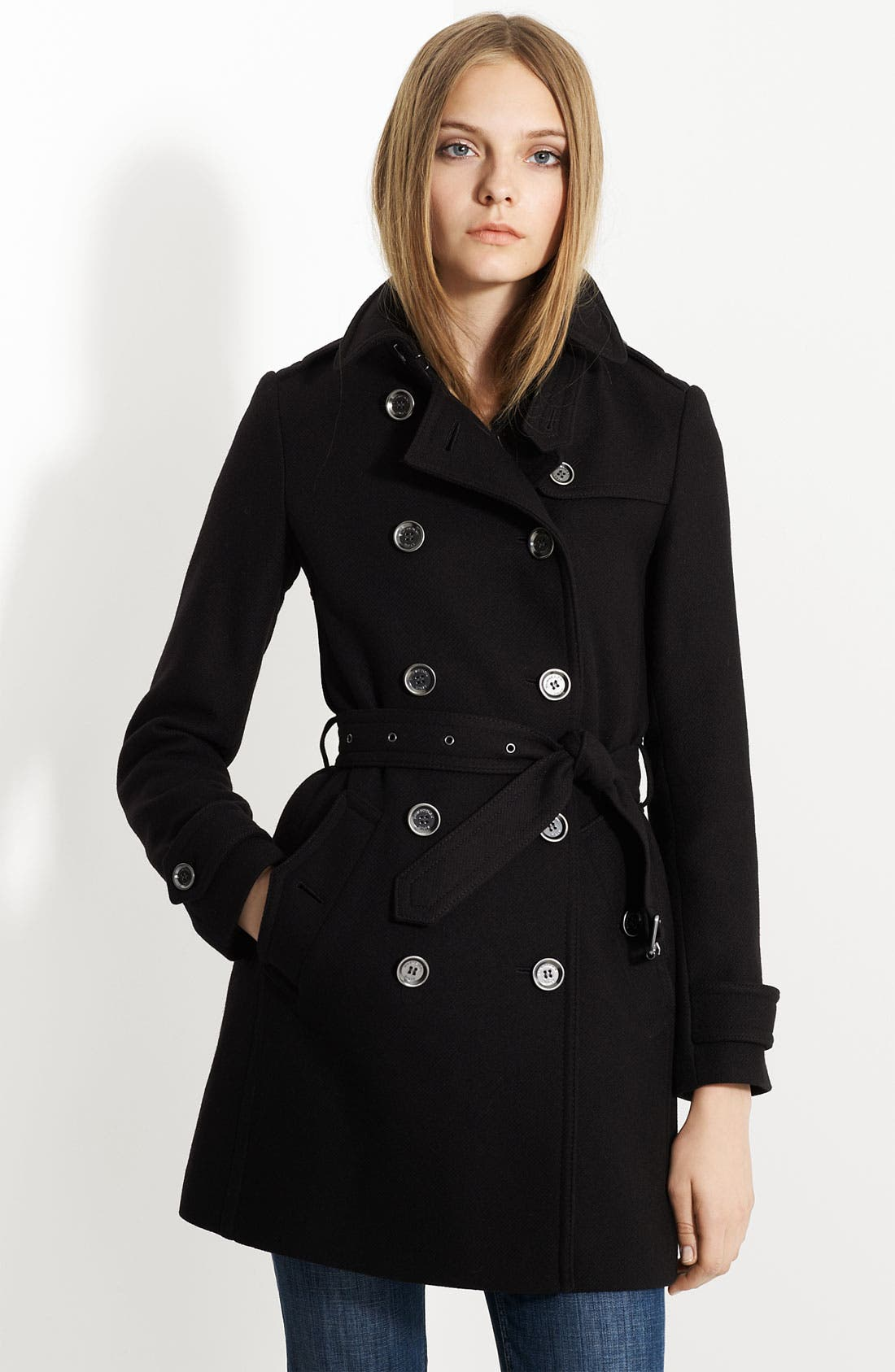 'Balmoral' Wool Blend Trench Coat,                             Main thumbnail 1, color,                             001
