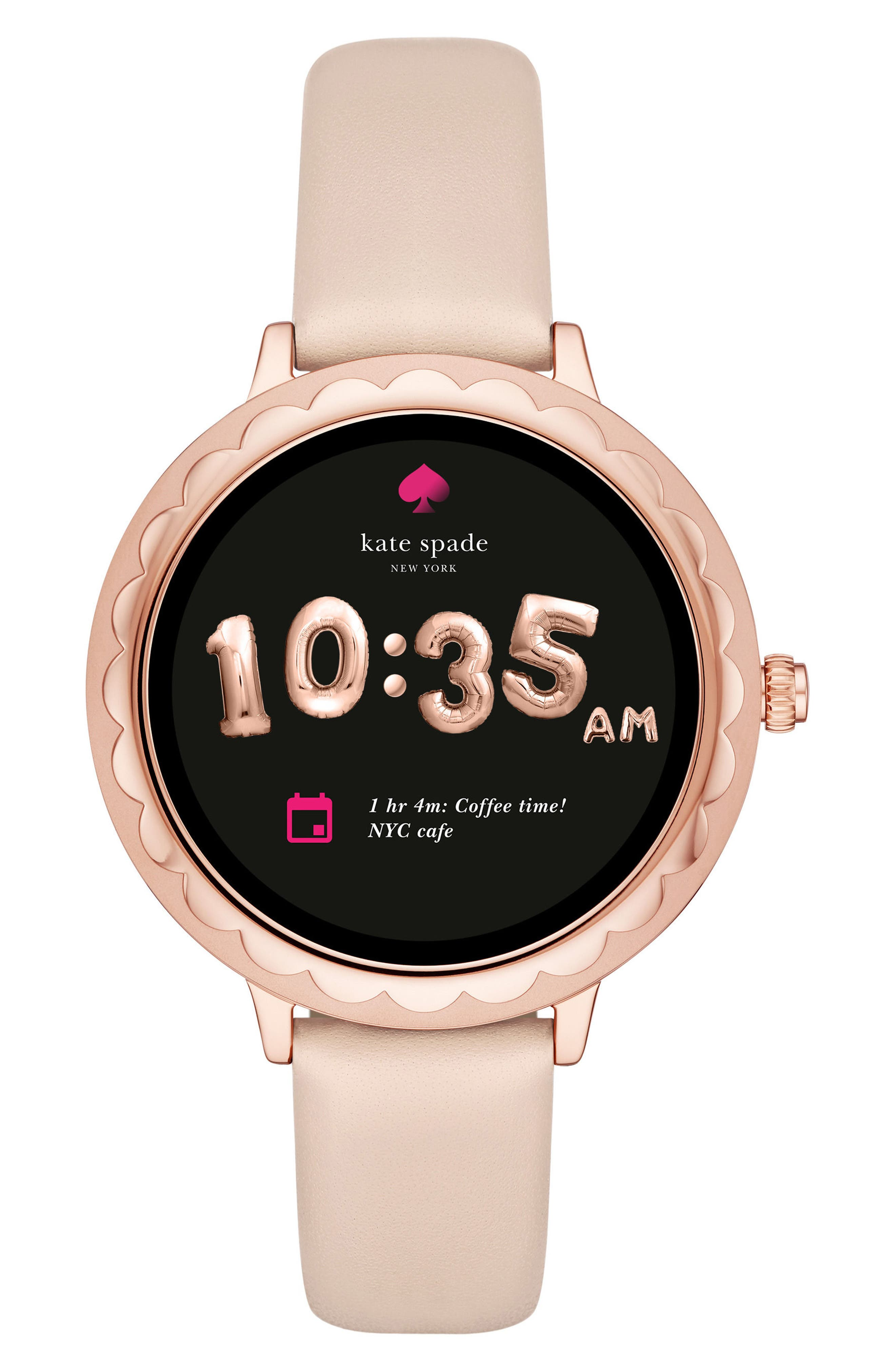 scallop leather strap touchscreen smart watch, 42mm,                             Main thumbnail 1, color,                             BEIGE/ PINK