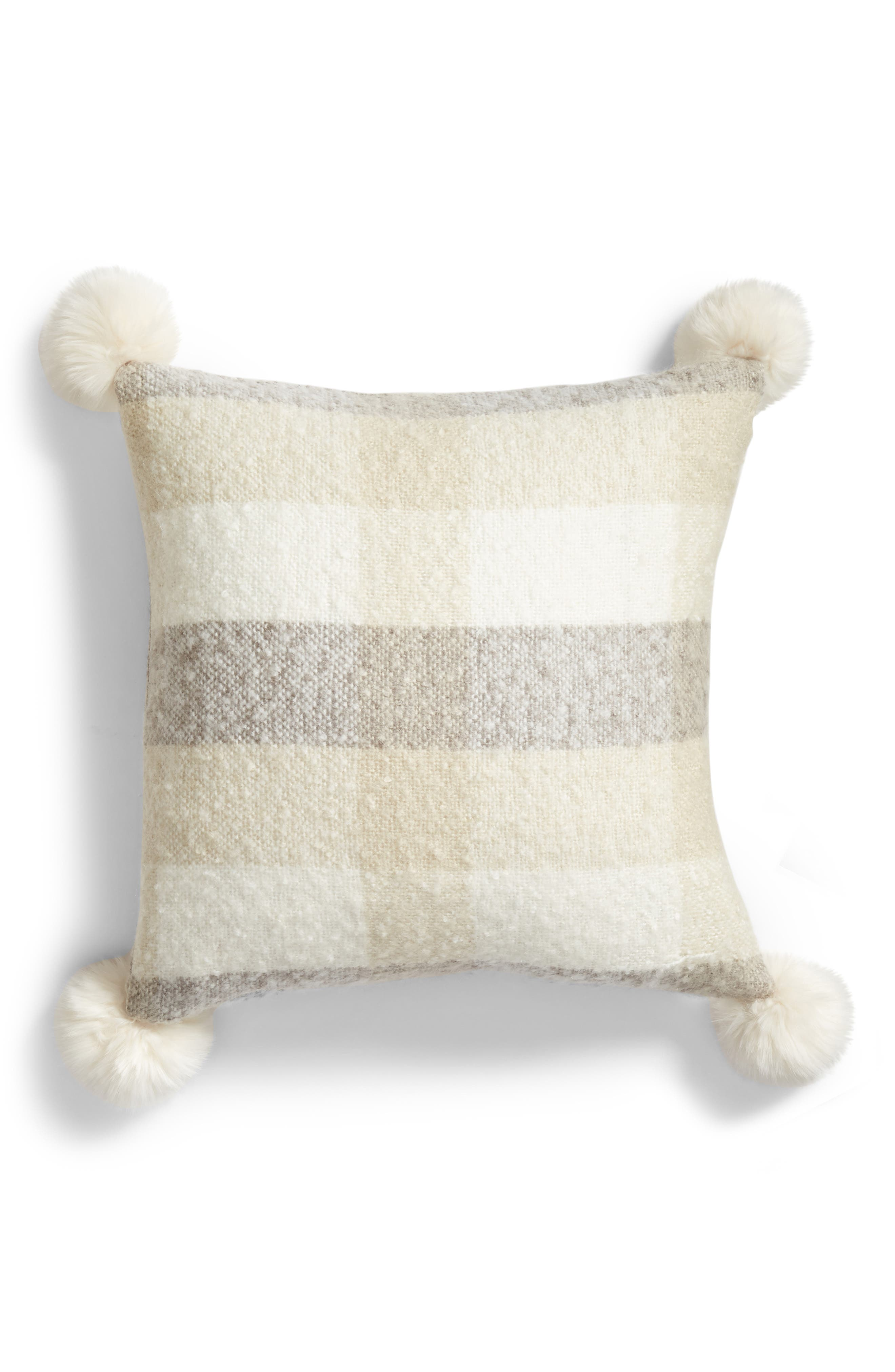 Brushed Faux Fur Pom Accent Pillow,                             Main thumbnail 1, color,                             BEIGE OATMEAL