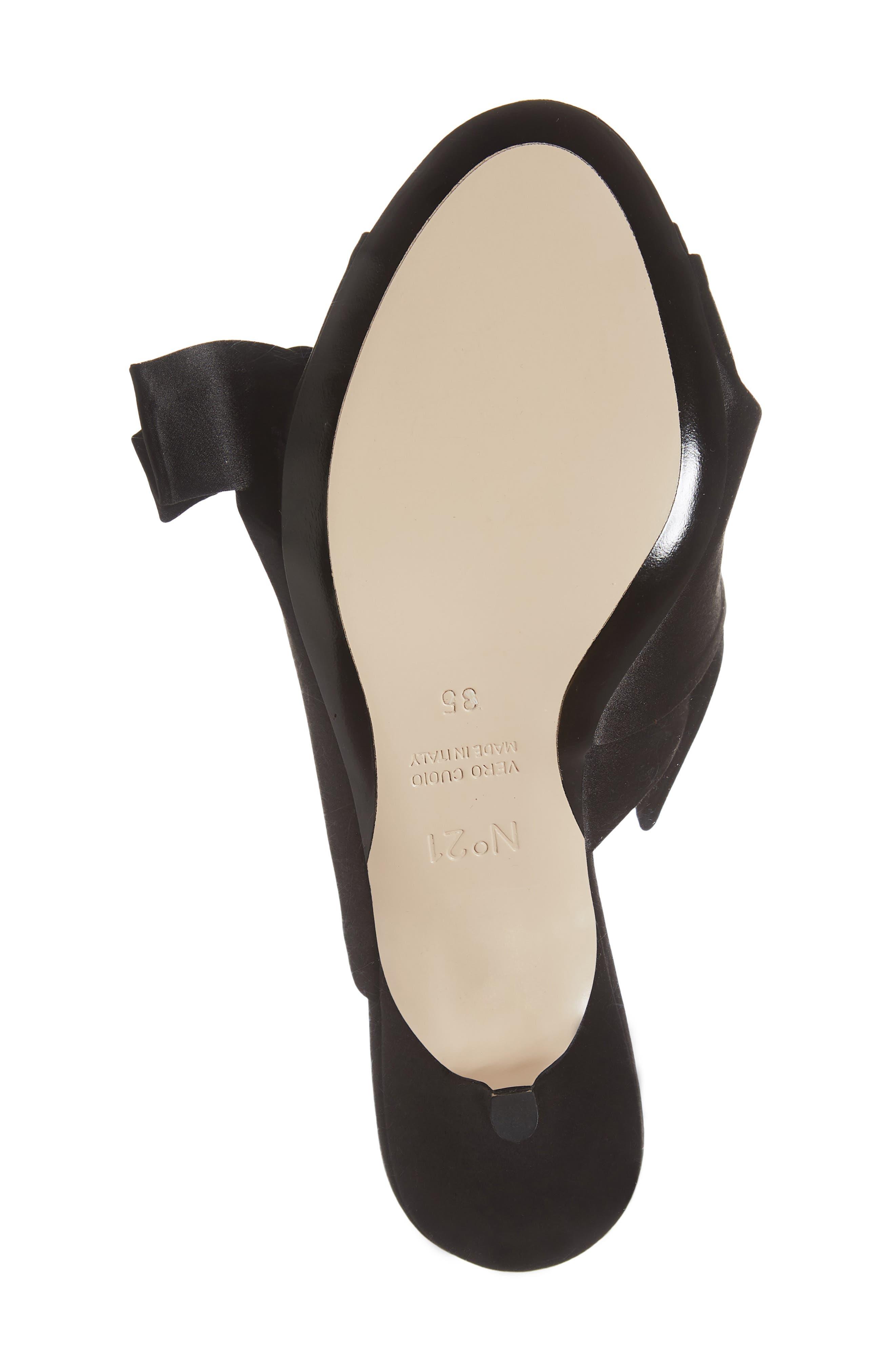 Bow Slide Sandal,                             Alternate thumbnail 6, color,                             BLACK