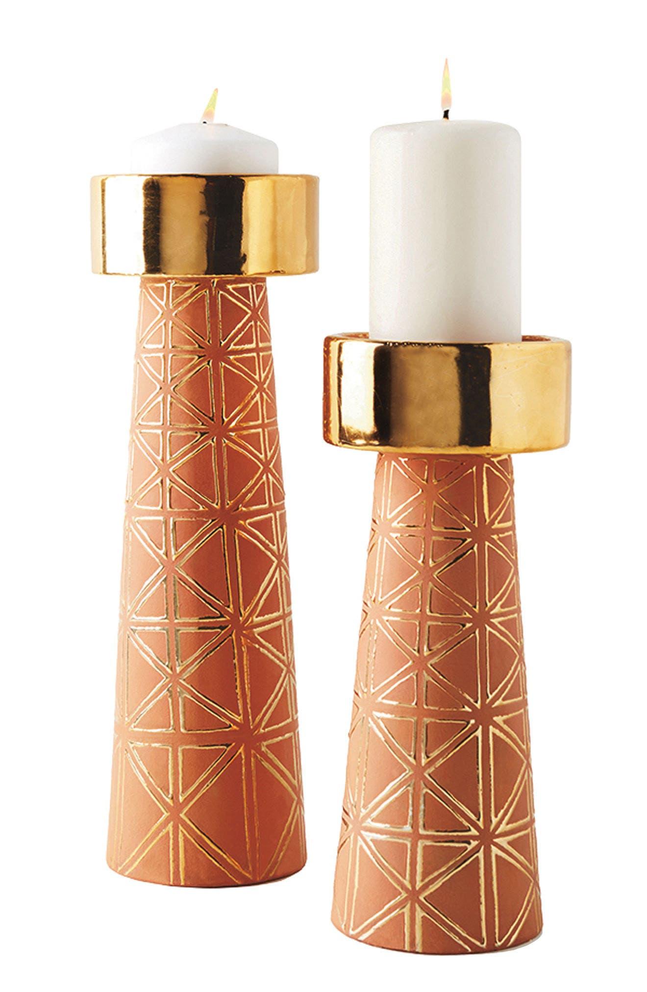 ANTHROPOLOGIE,                             Geo Pillar Candleholder,                             Alternate thumbnail 5, color,                             200