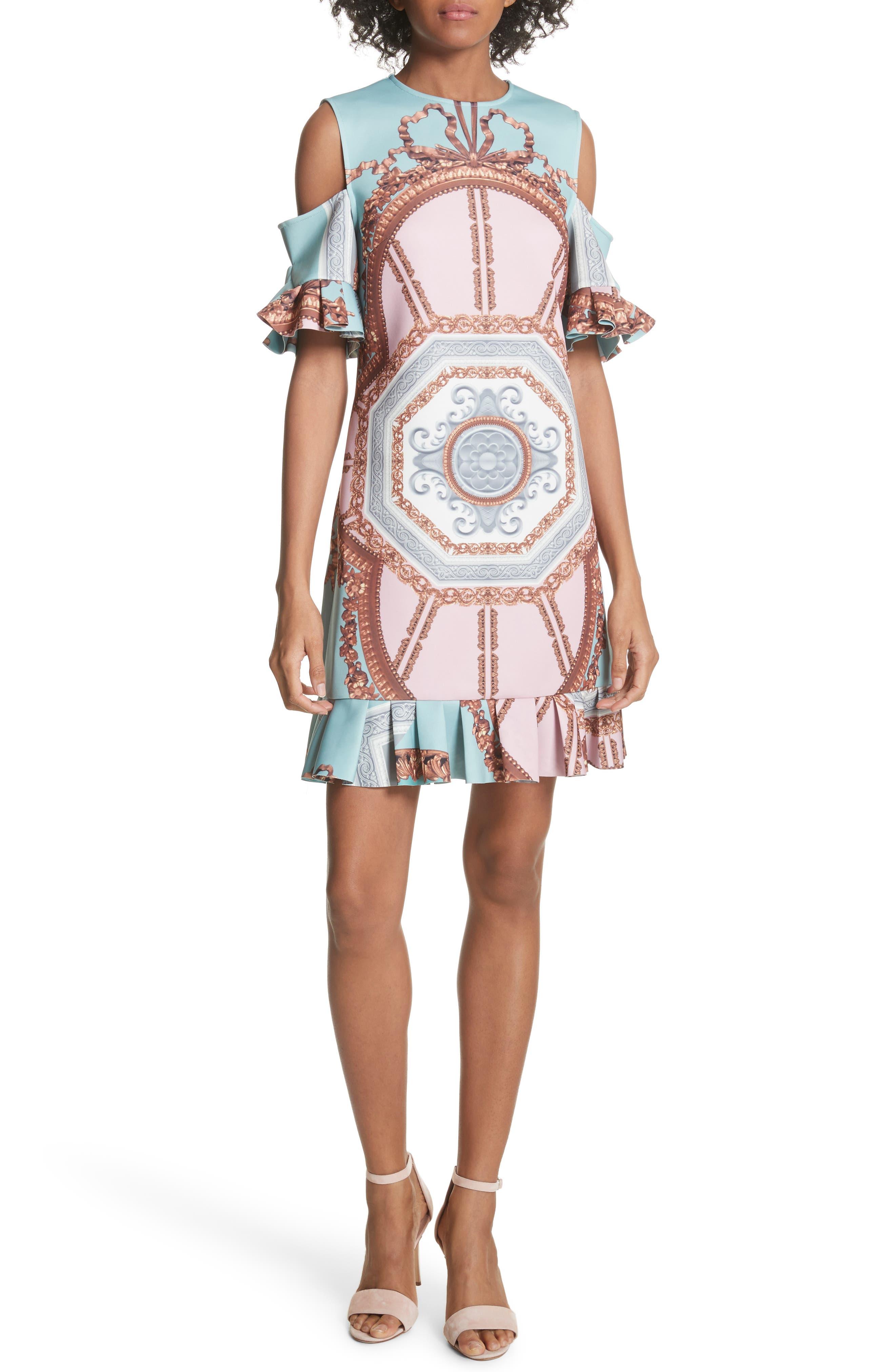 Norahe Versailles Cold Shoulder Dress,                             Main thumbnail 1, color,                             440
