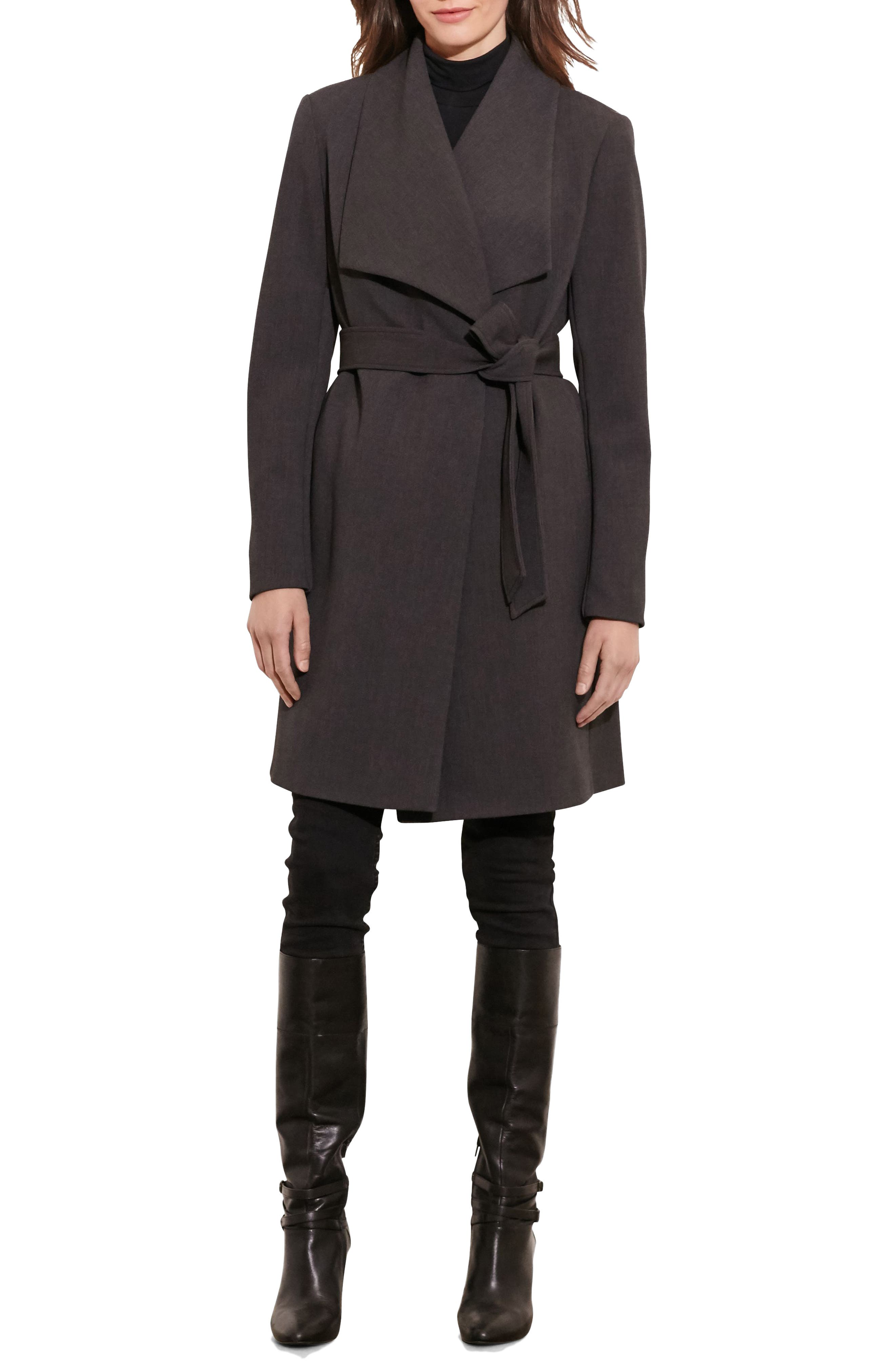 Belted Drape Front Coat,                             Alternate thumbnail 4, color,                             CHARCOAL