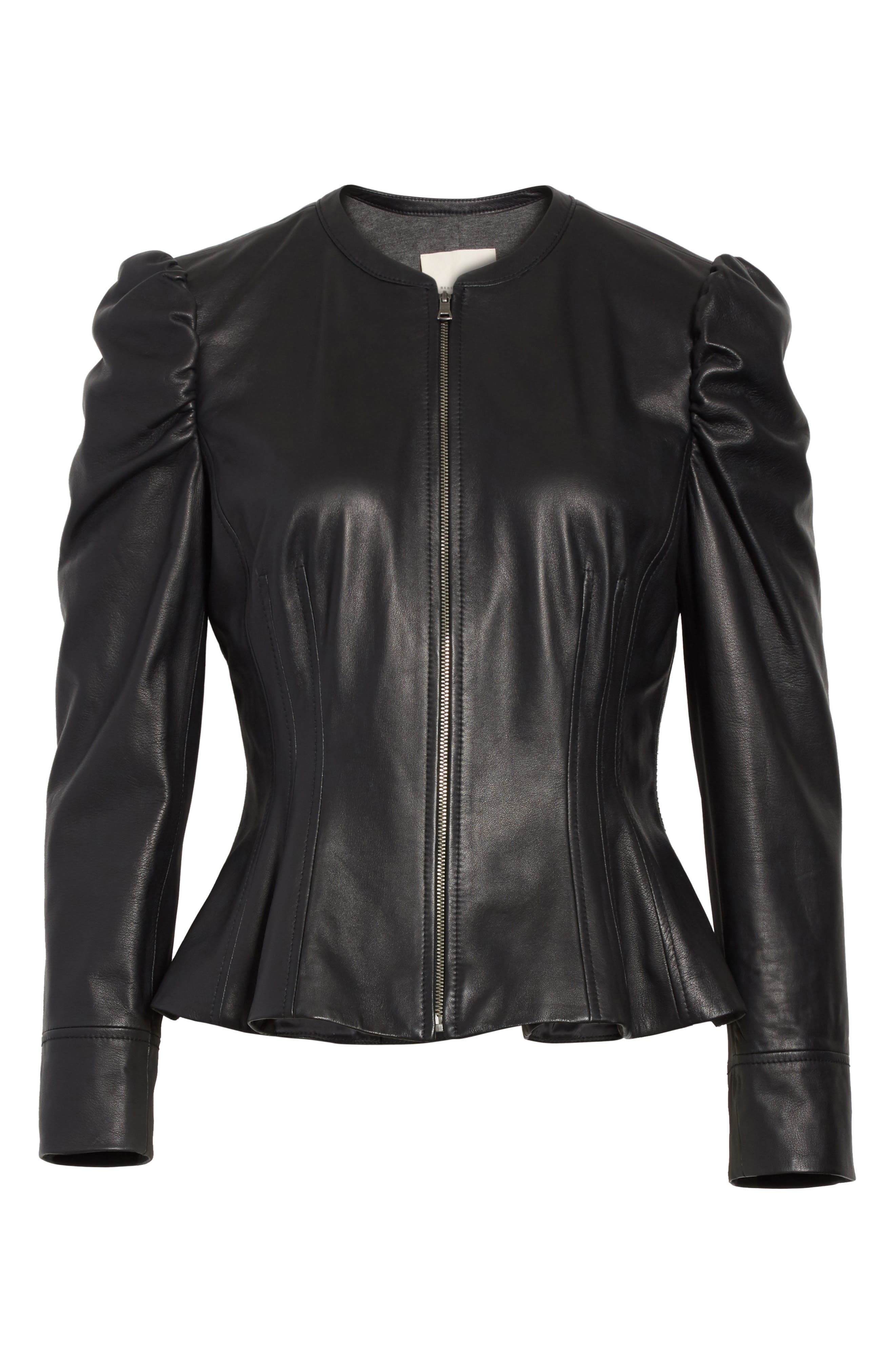 Victorian Leather Jacket,                             Alternate thumbnail 5, color,                             001