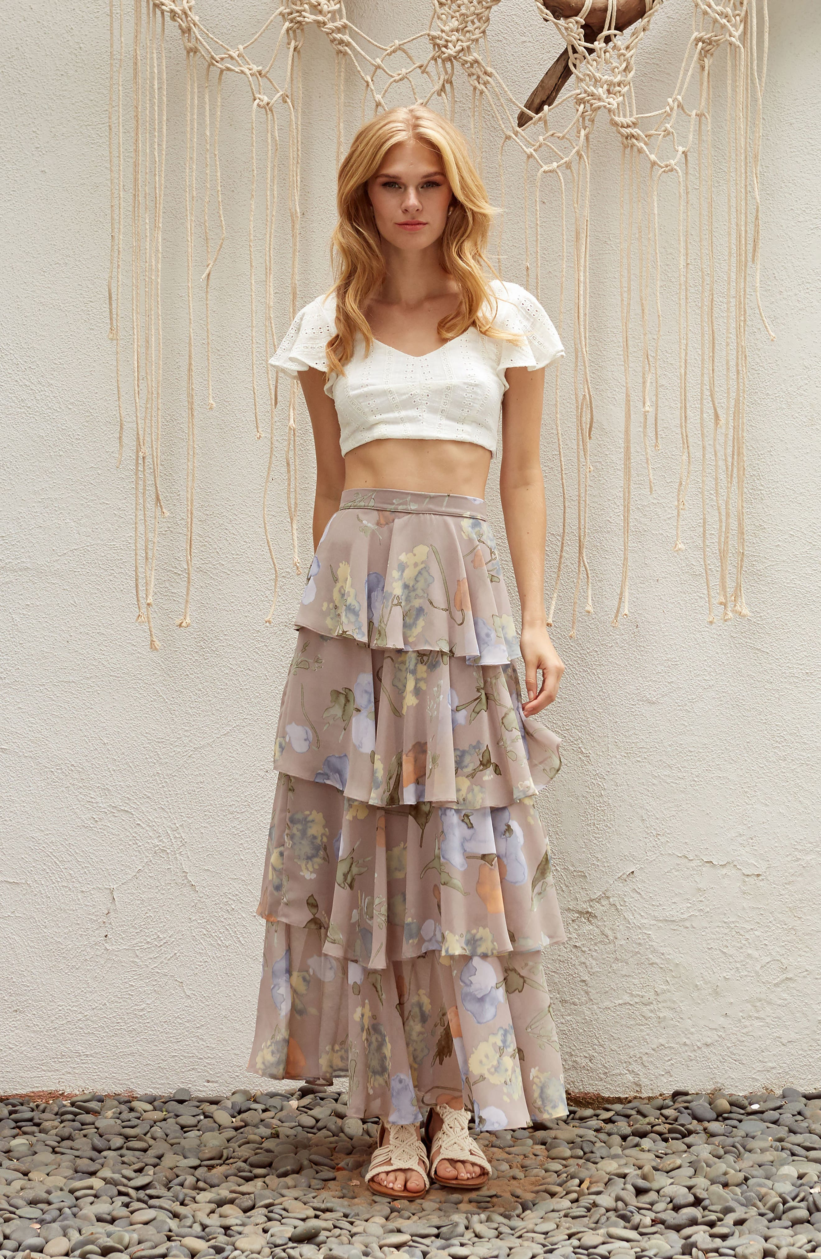 Clarita Floral Tiered Maxi Skirt,                             Alternate thumbnail 8, color,