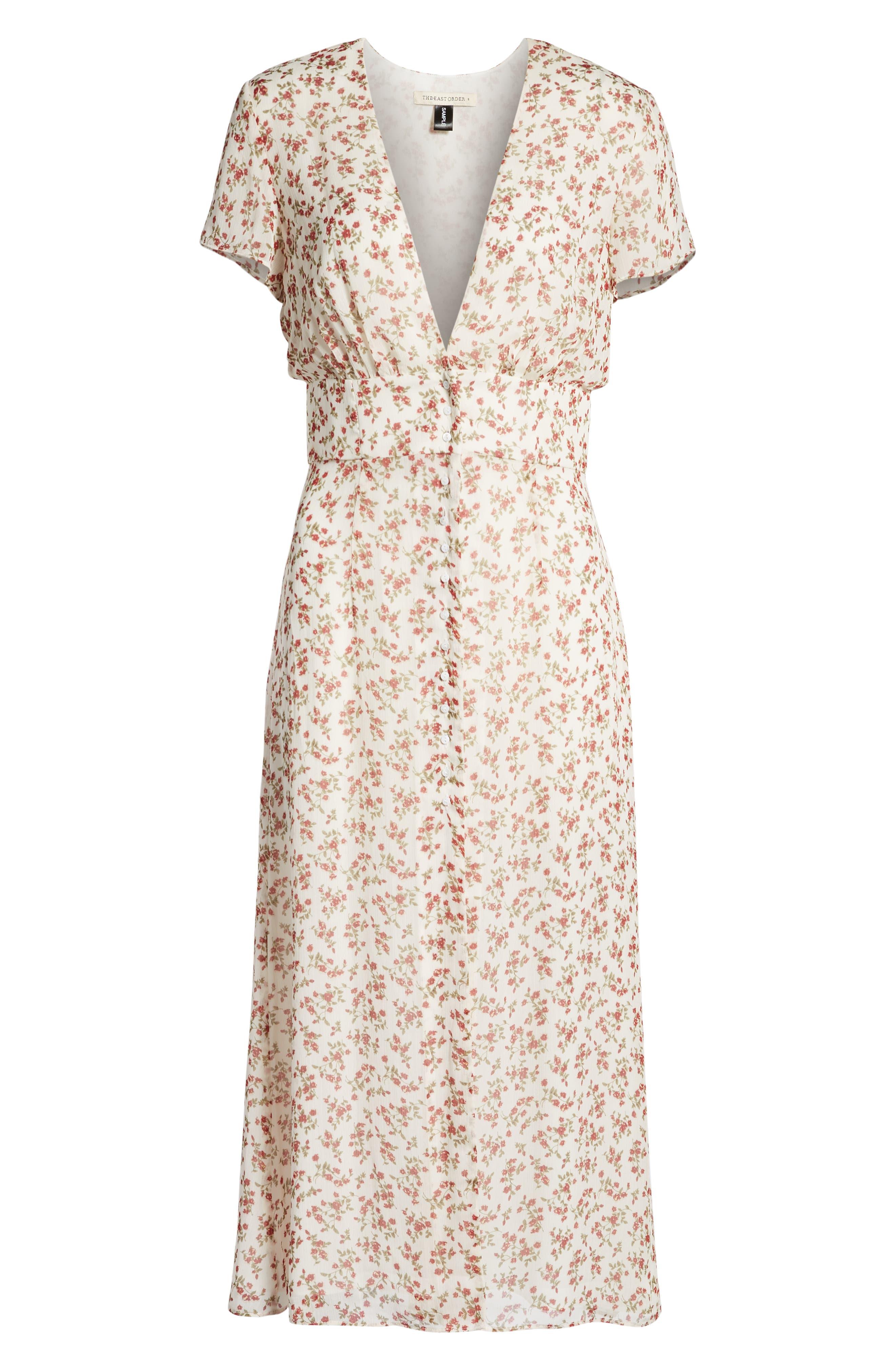 Faretta Midi Dress,                             Alternate thumbnail 7, color,                             RED ROMANCE FLORAL