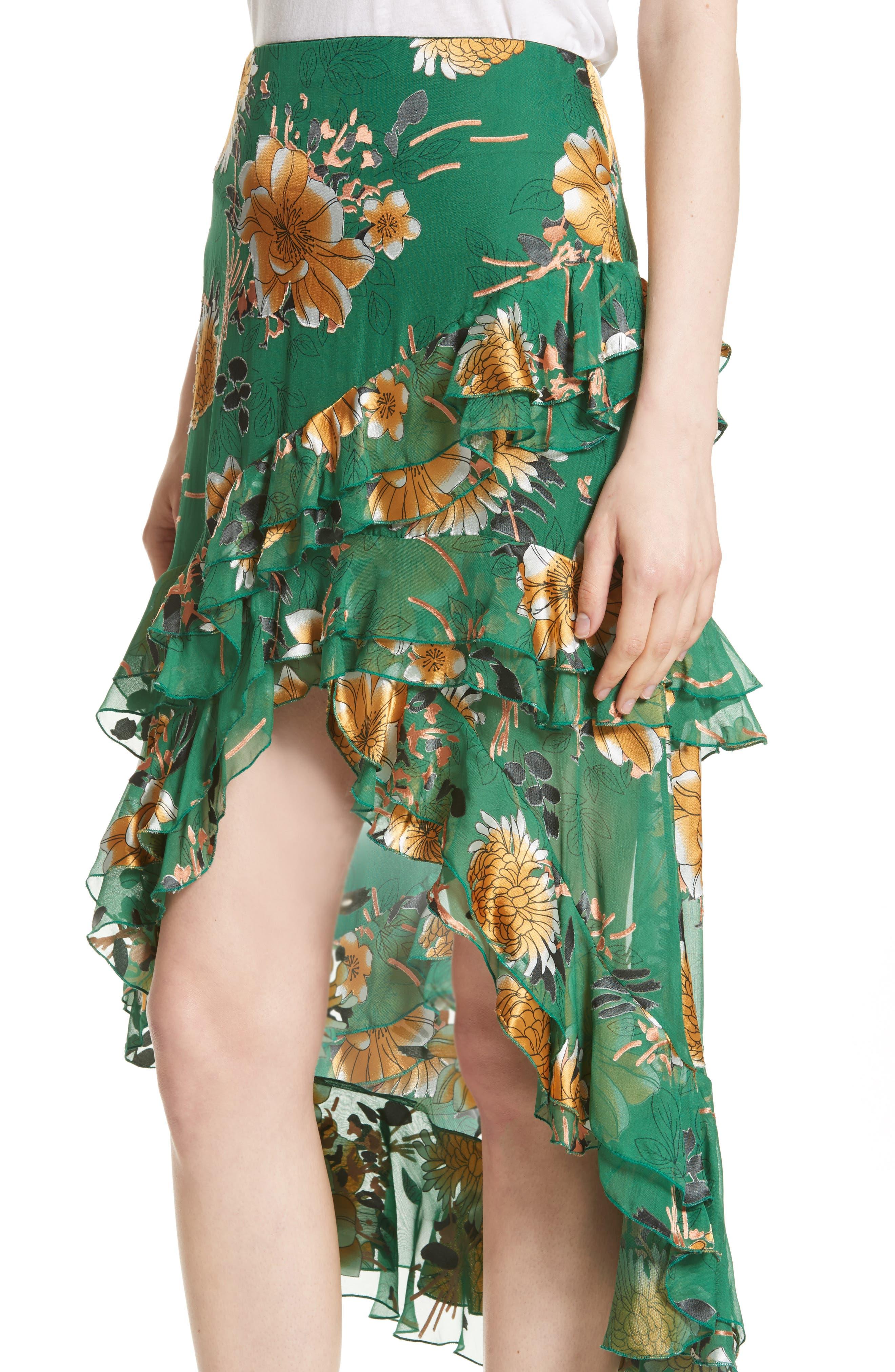 Sasha Ruffled Asymmetrical Floral Skirt,                             Alternate thumbnail 4, color,