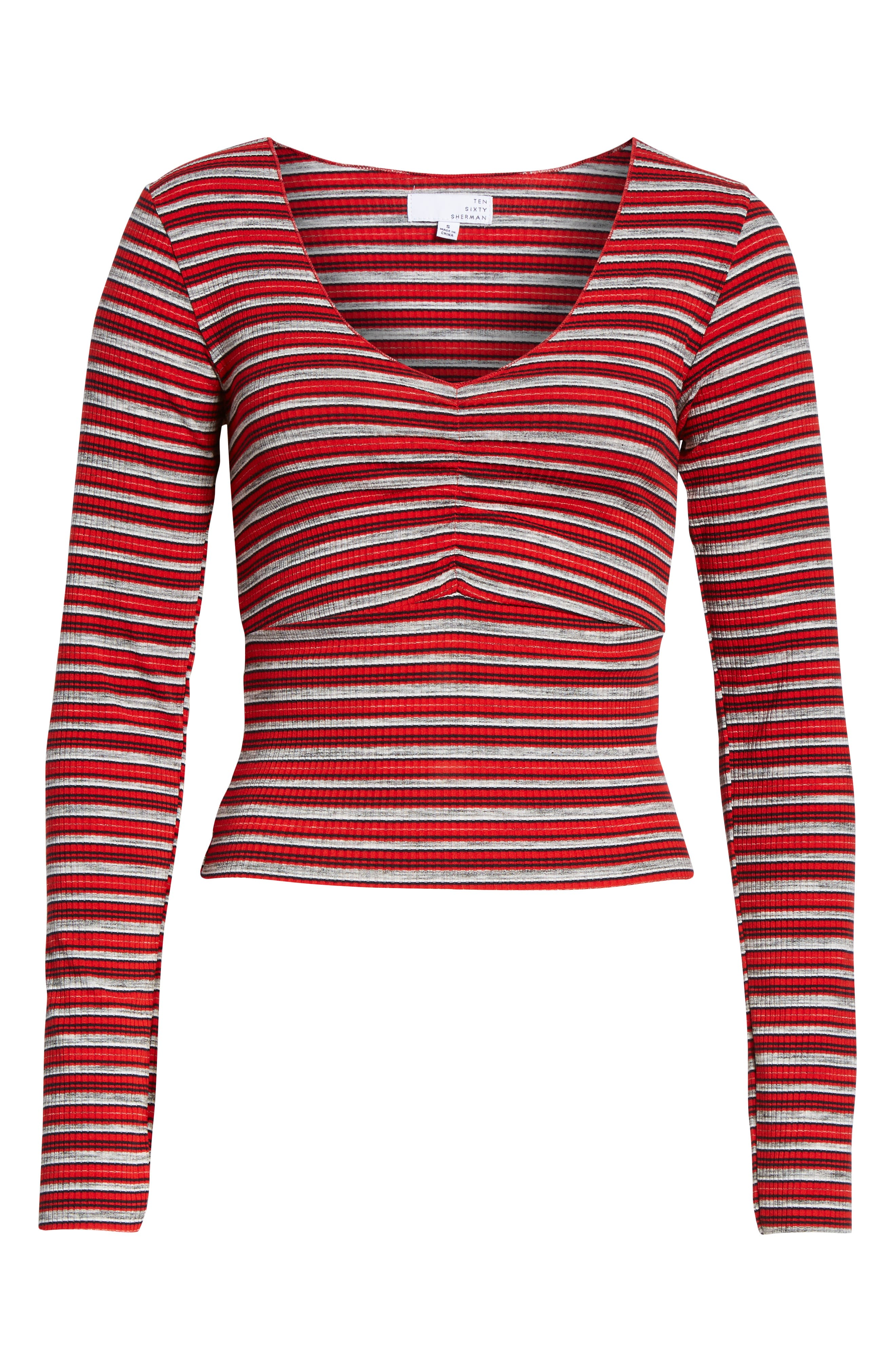 Multi Stripe Cinch Front Top,                             Alternate thumbnail 6, color,                             RED/ NAVY
