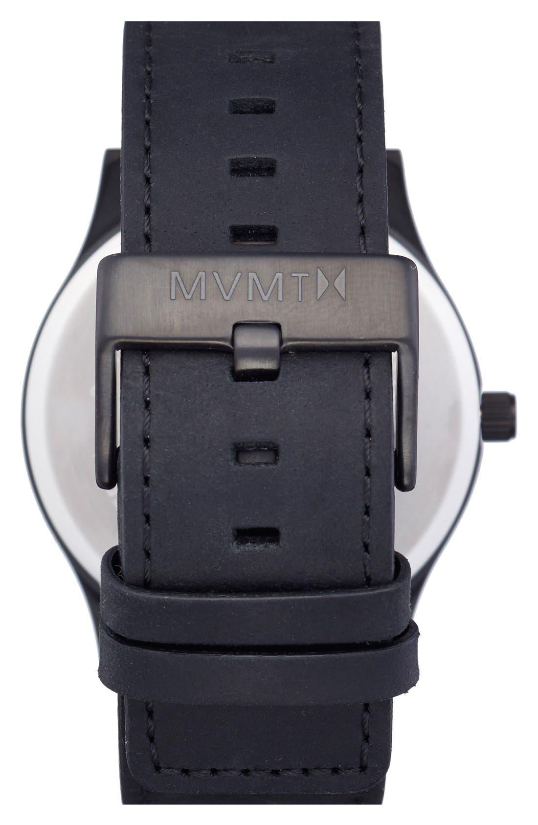 Leather Strap Watch, 45mm,                             Alternate thumbnail 2, color,                             BLACK/ BLACK