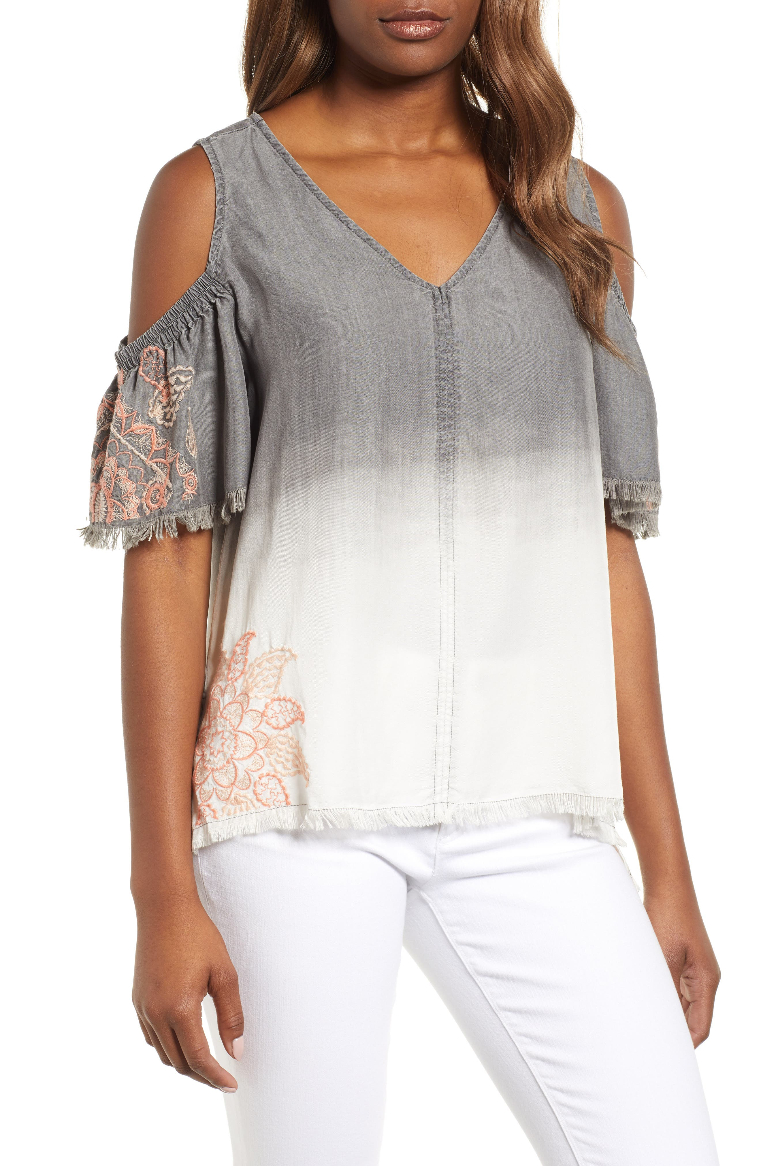 Dip Dye Embroidered Cold Shoulder Blouse,                         Main,                         color, GREY WHITE EMBROIDER