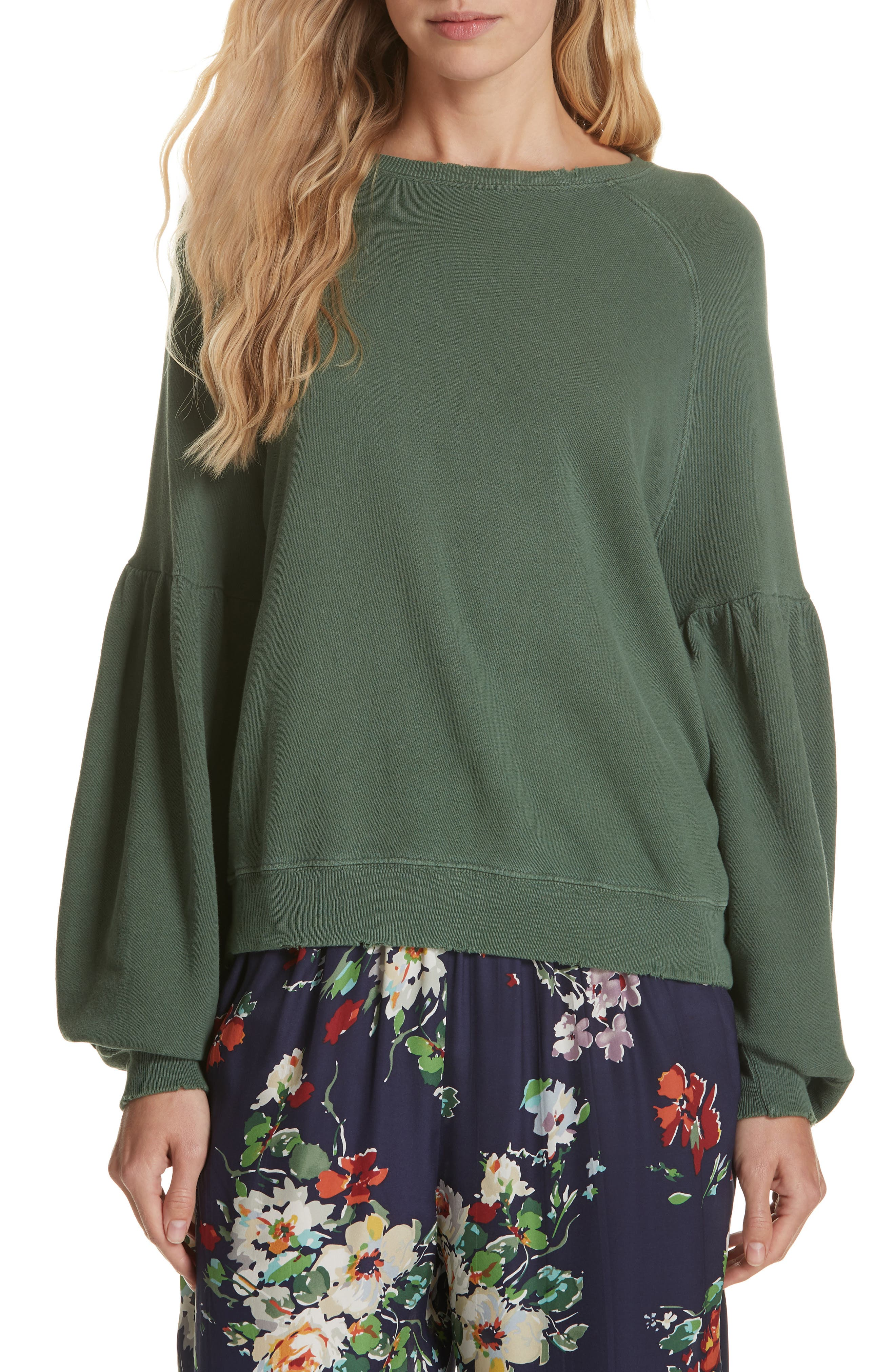 The Bishop Sleeve Sweatshirt,                         Main,                         color, PINE