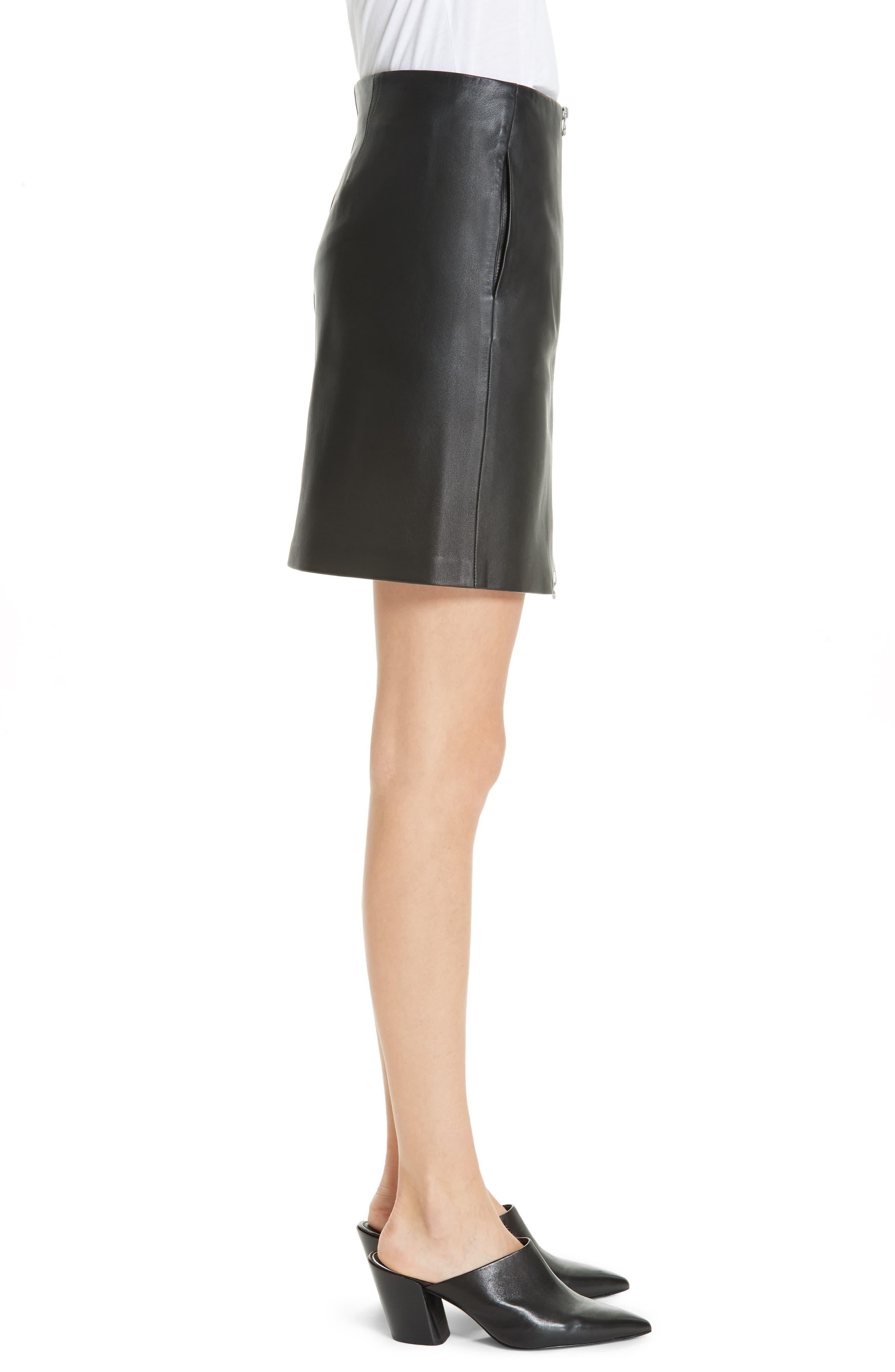 Heidi Leather Skirt,                             Alternate thumbnail 3, color,                             BLACK