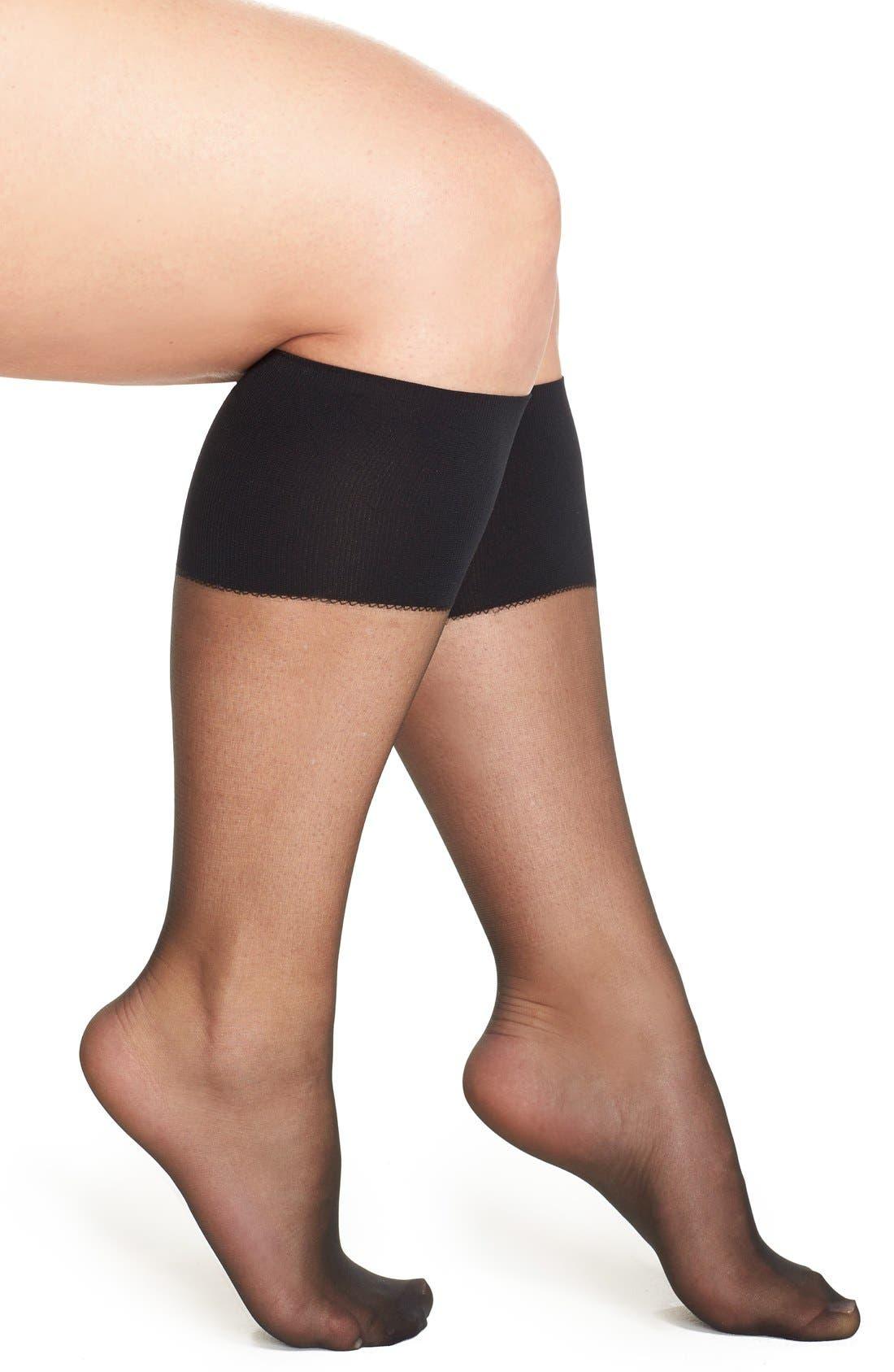 Sheer Knee Highs,                         Main,                         color, FANTASY BLACK