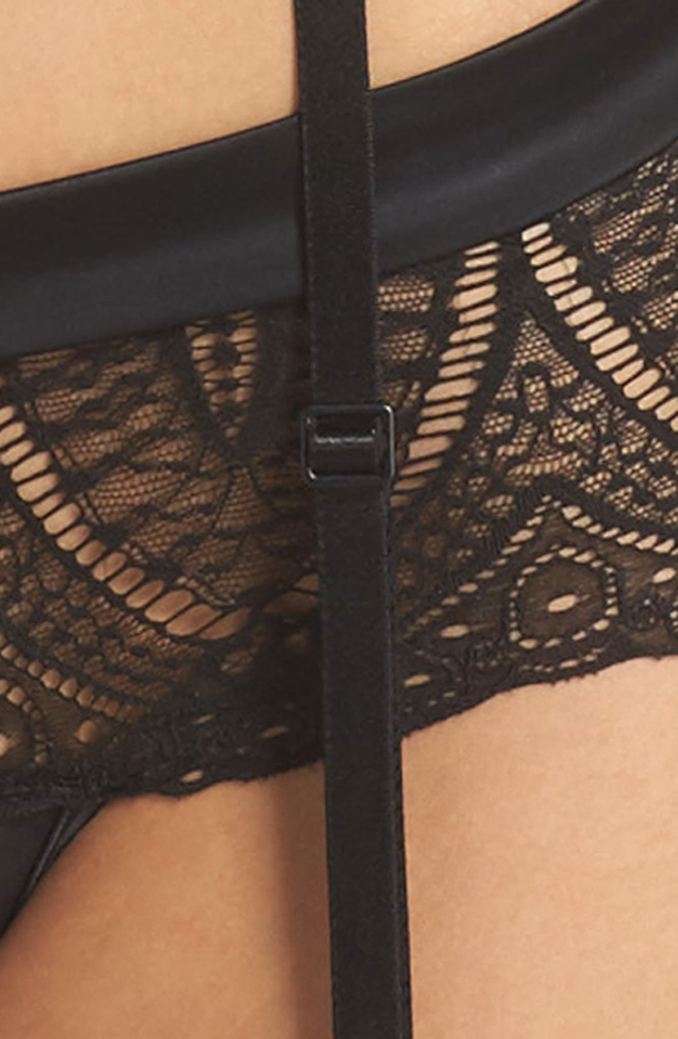 Black Lace Garter Belt,                             Alternate thumbnail 4, color,                             001