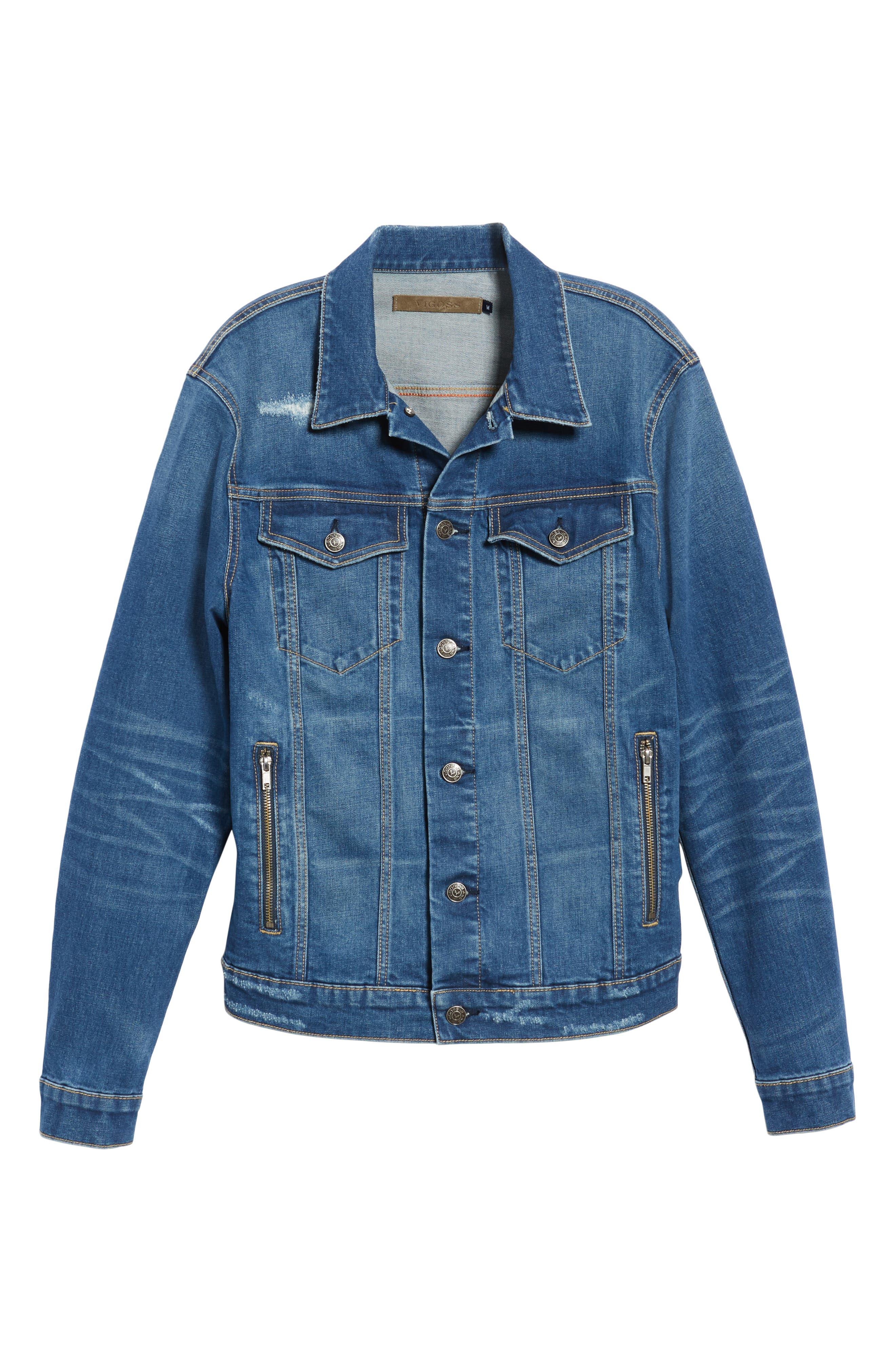 VIGOSS,                             Denim Trucker Jacket,                             Alternate thumbnail 6, color,                             BLUE VINTAGE