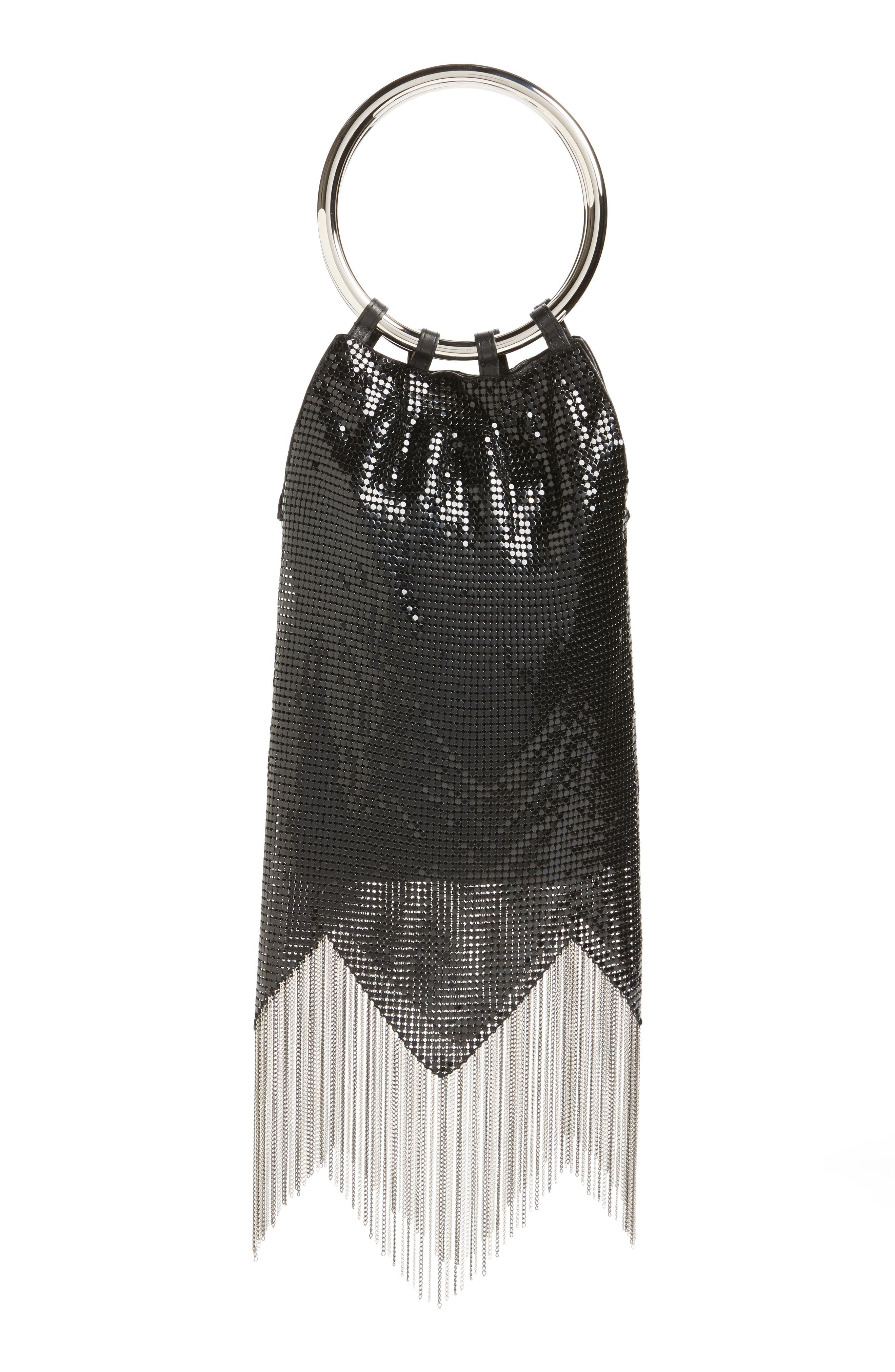 Rio Mesh Bracelet Bag,                             Alternate thumbnail 3, color,                             BLACK