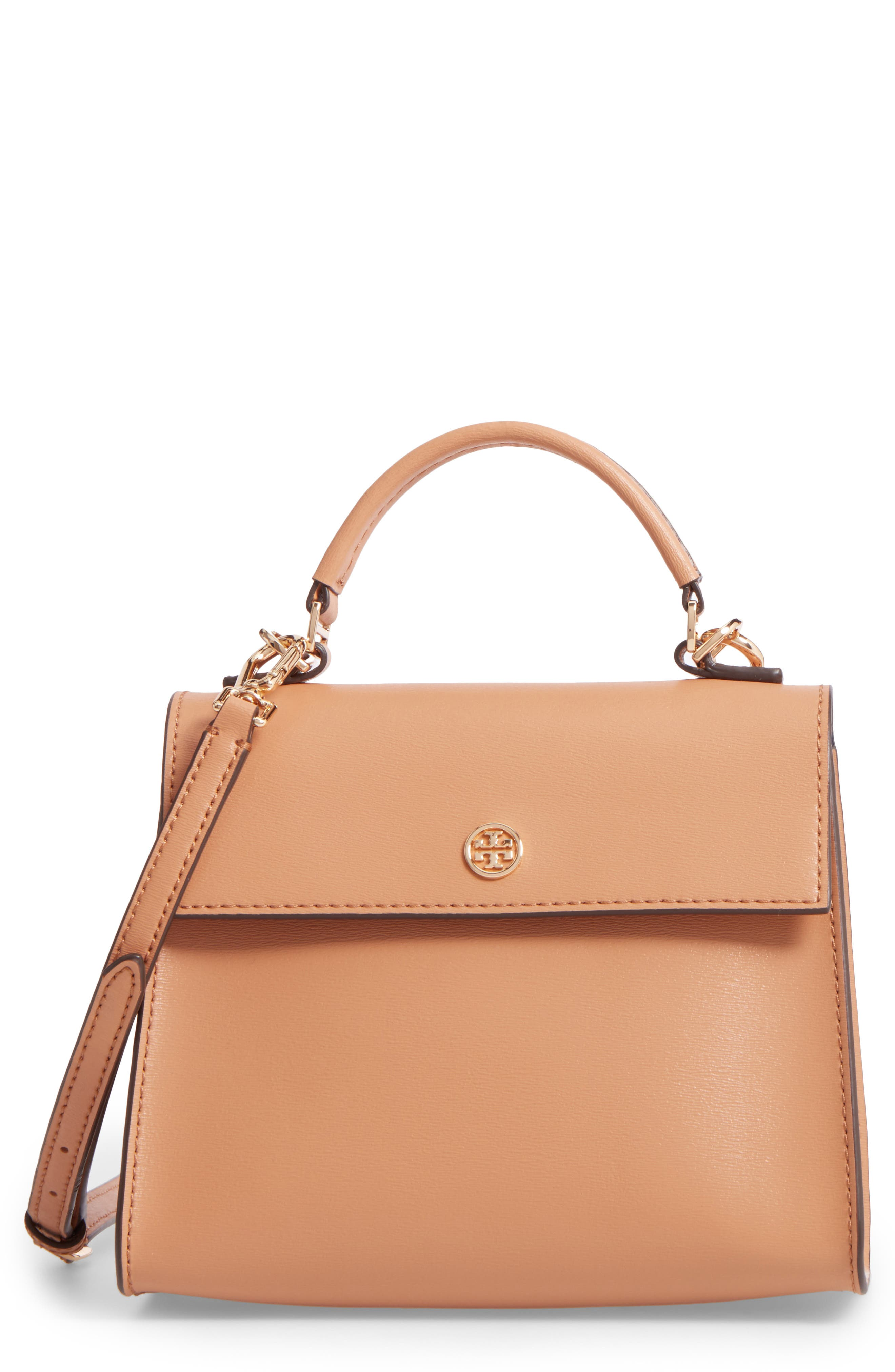 TORY BURCH Small Parker Leather Top Handle Satchel, Main, color, 250