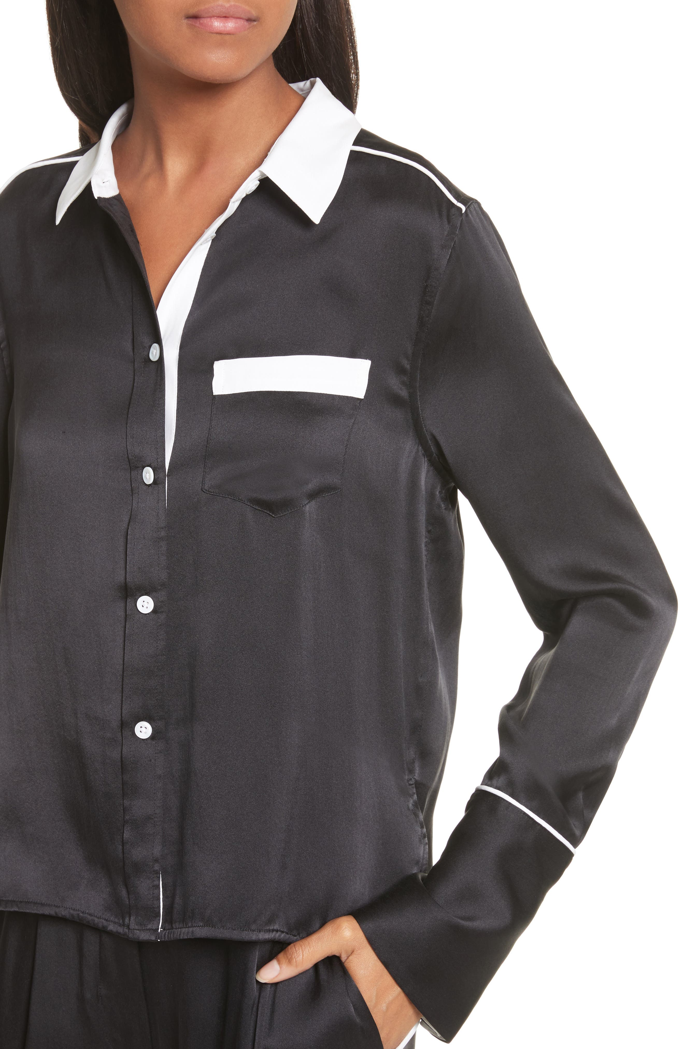 EQUIPMENT,                             Huntley Contrast Silk Shirt,                             Alternate thumbnail 4, color,                             003
