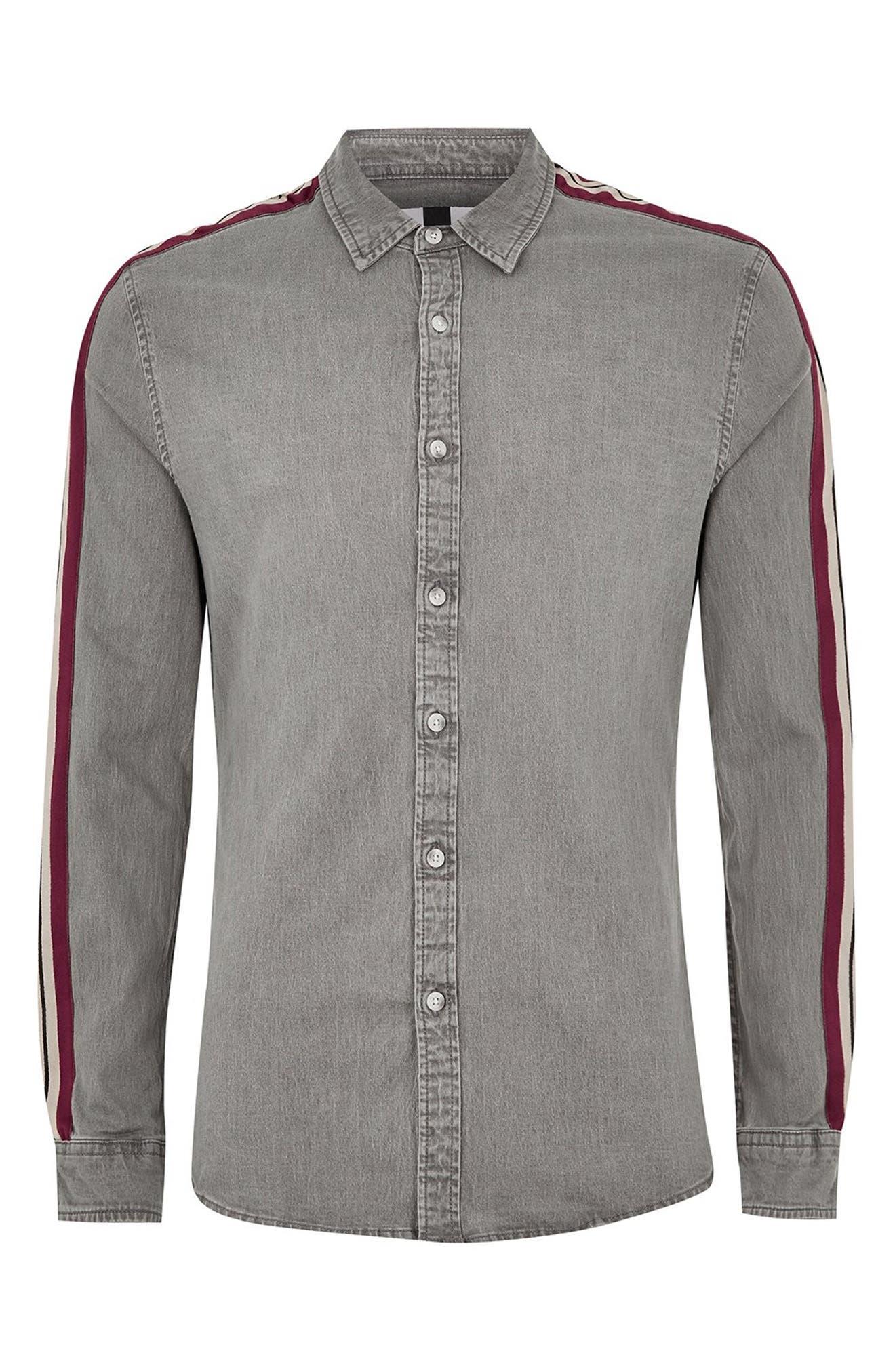 Taping Denim Shirt,                             Alternate thumbnail 5, color,                             GREY MULTI