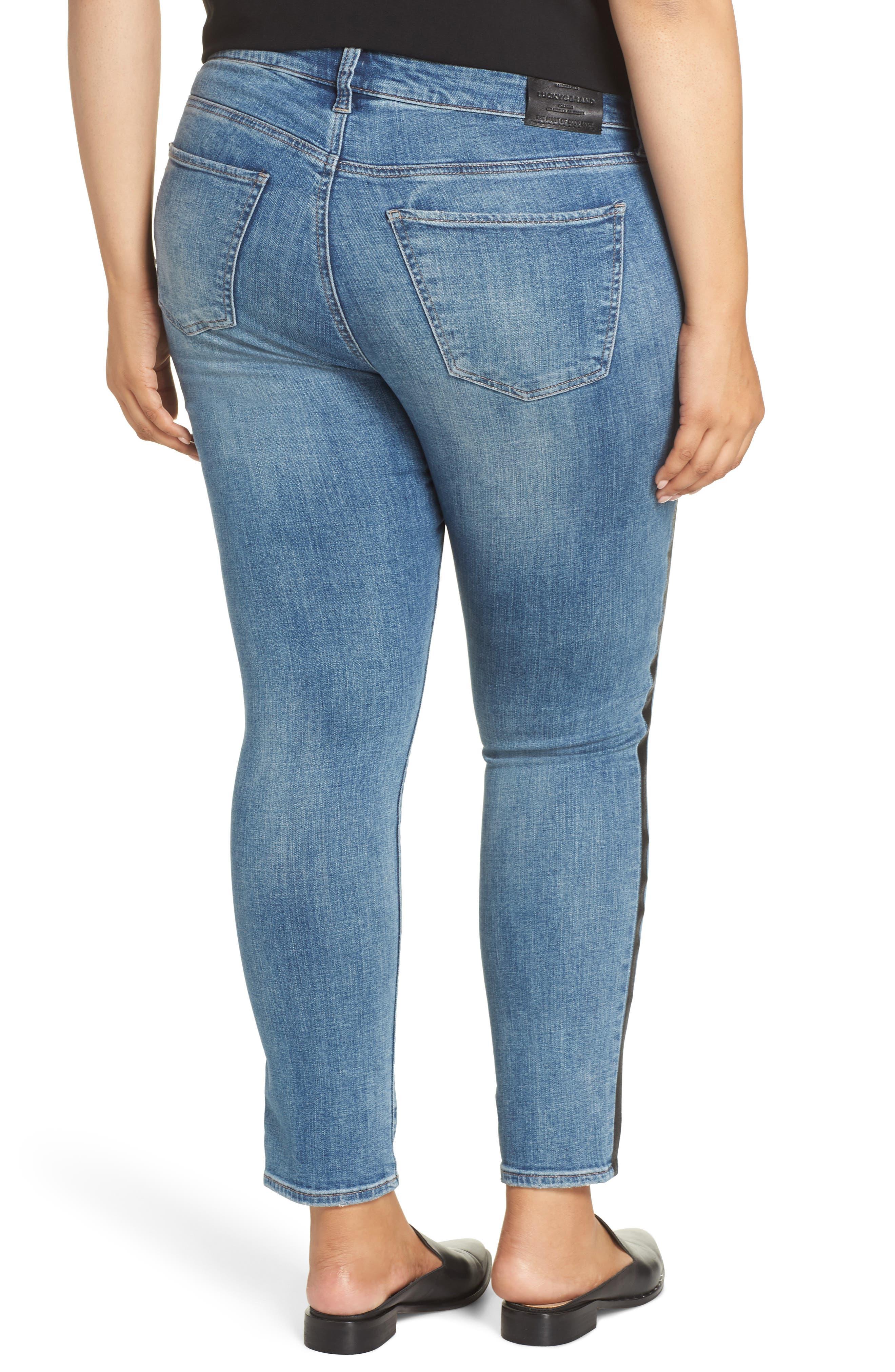 Ginger Glitter Stripe Skinny Jeans,                             Alternate thumbnail 2, color,                             420