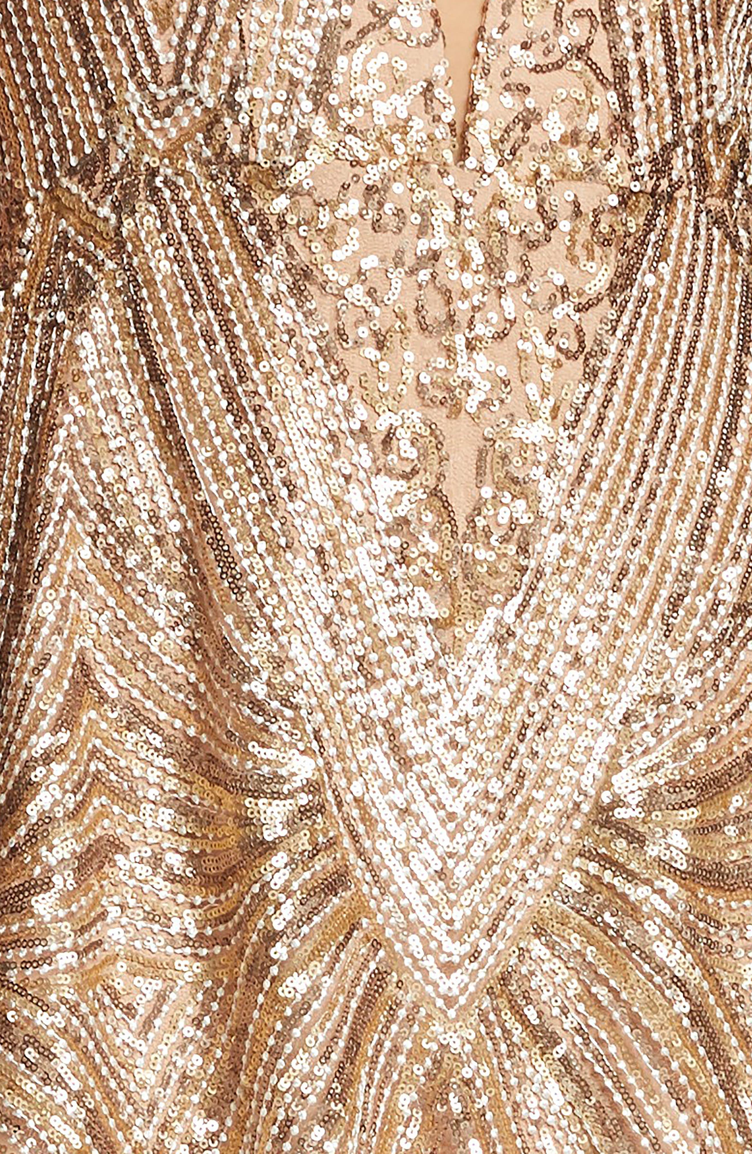DRESS THE POPULATION,                             Leona Art Deco Sequin Fit & Flare Dress,                             Alternate thumbnail 4, color,                             GOLD/ BRASS
