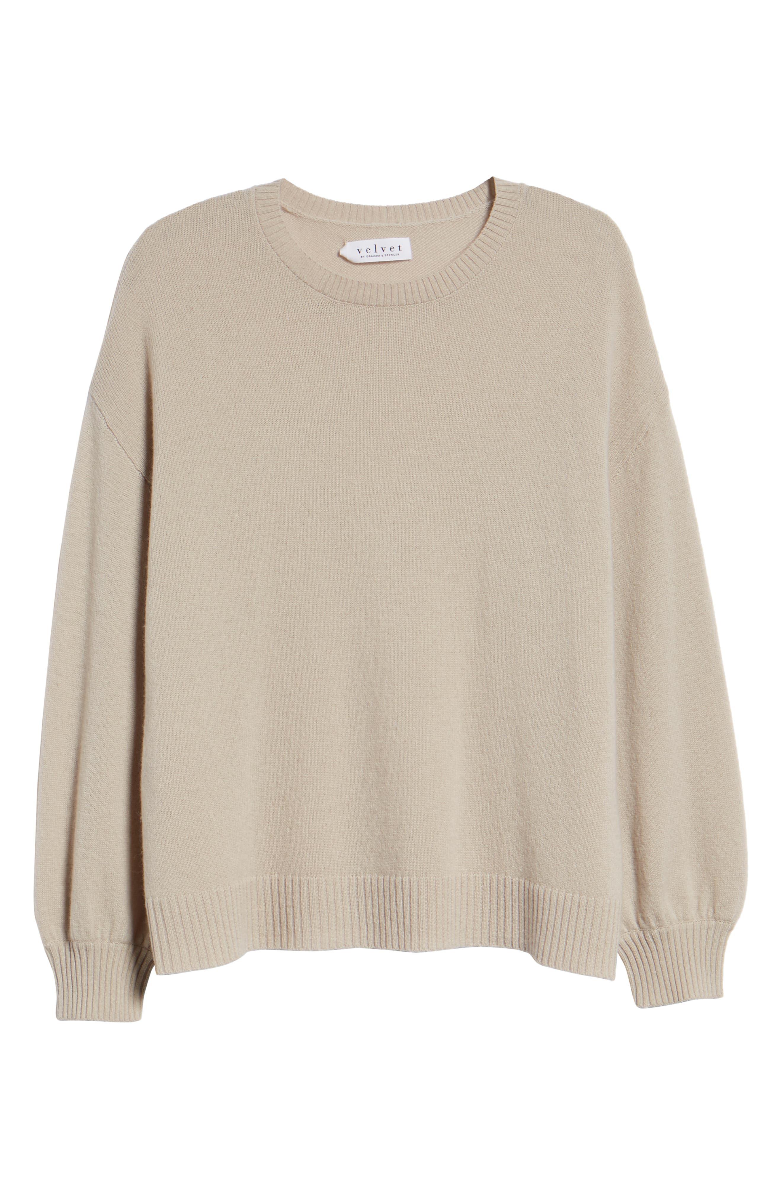 Blouson Sleeve Cashmere Sweater,                             Alternate thumbnail 6, color,                             MUSHROOM