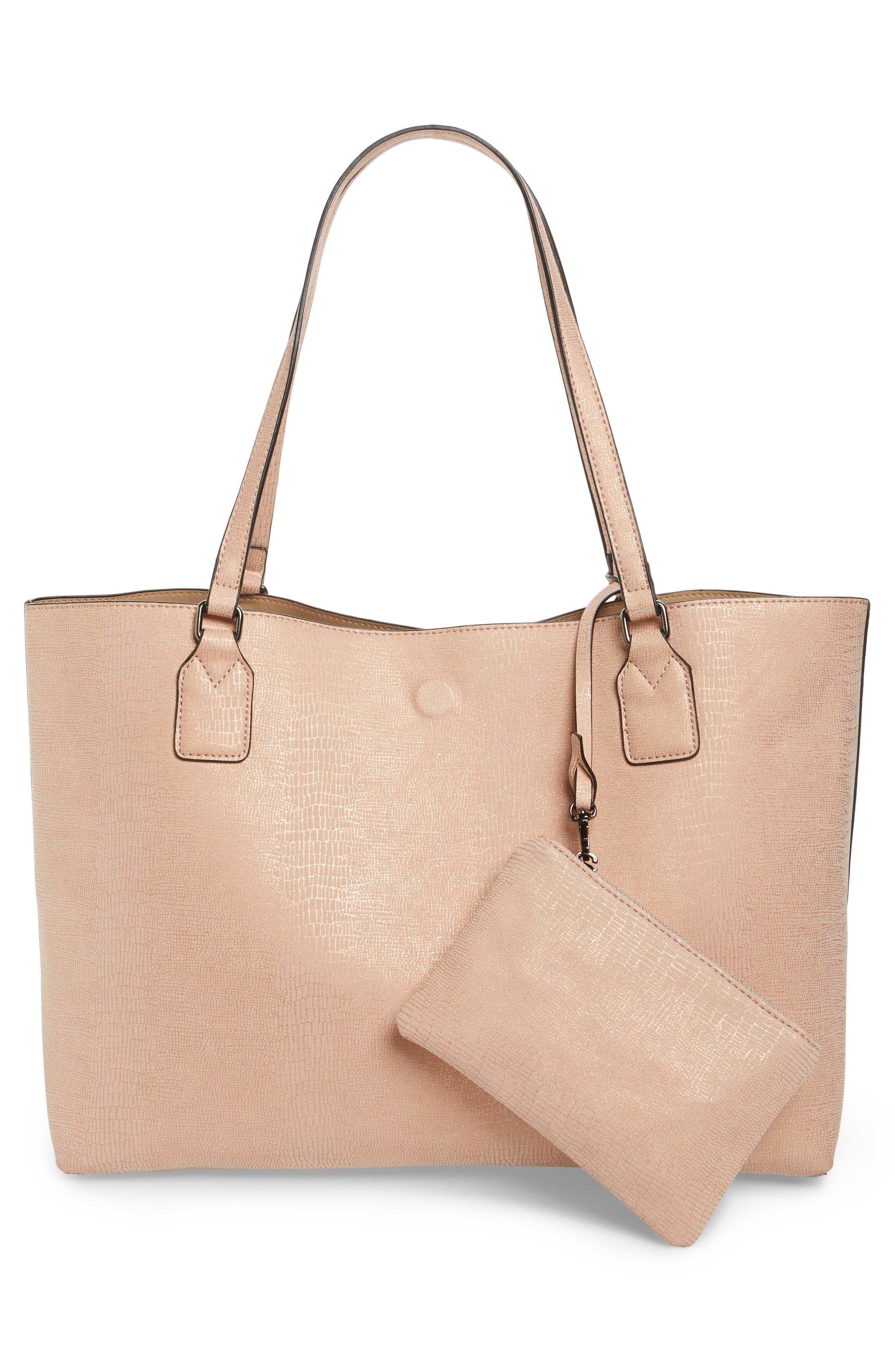 Snake Embossed Faux Leather Tote,                             Alternate thumbnail 8, color,