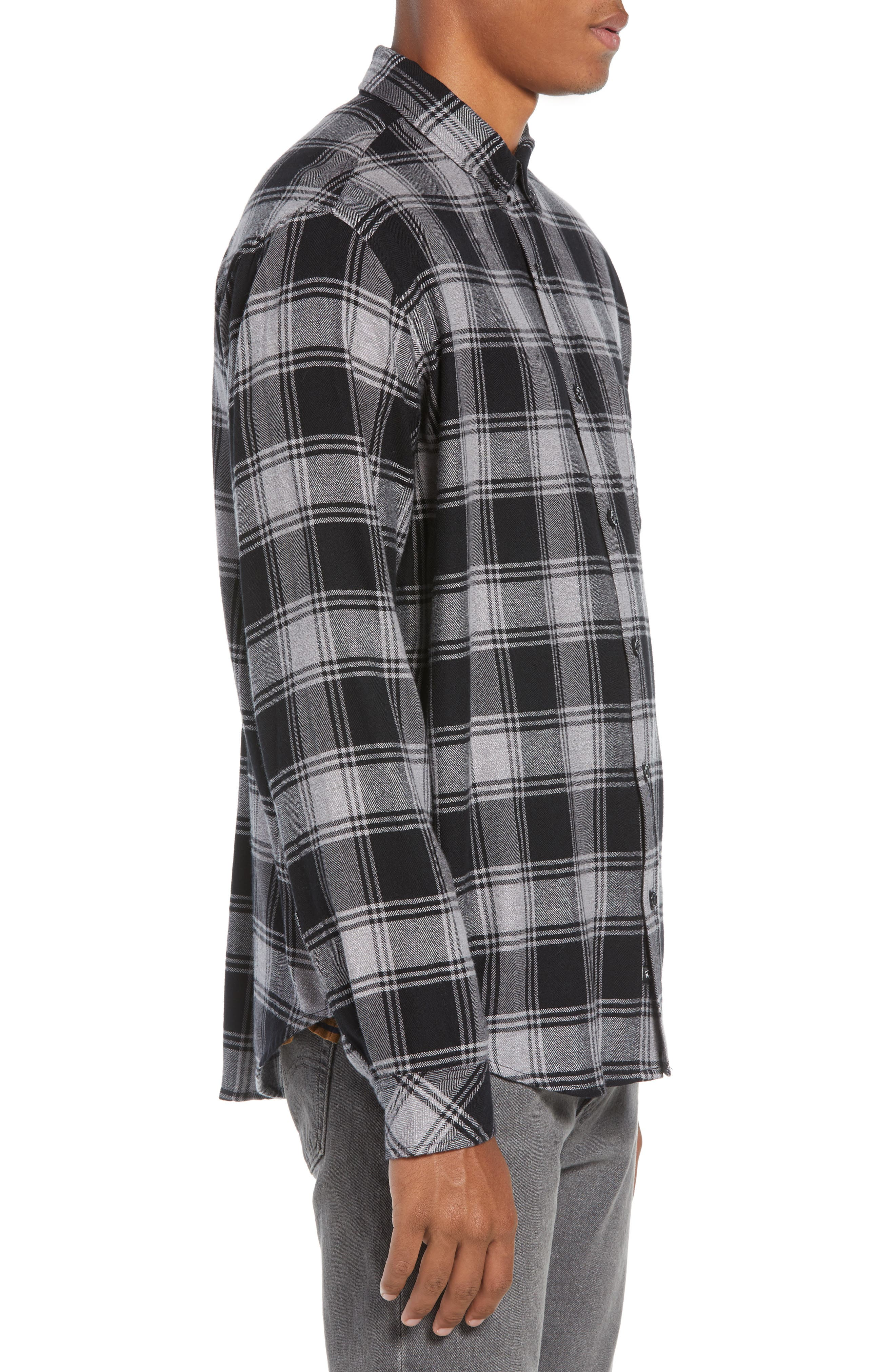 Lennox Slim Fit Plaid Sport Shirt,                             Alternate thumbnail 4, color,                             BLACK GREY