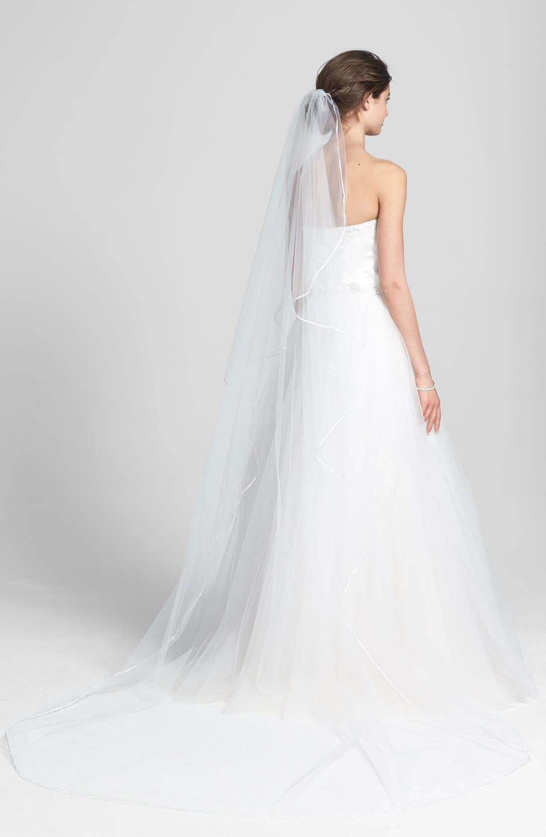 'Mable' Satin Trim Cathedral Veil,                         Main,                         color, WHITE