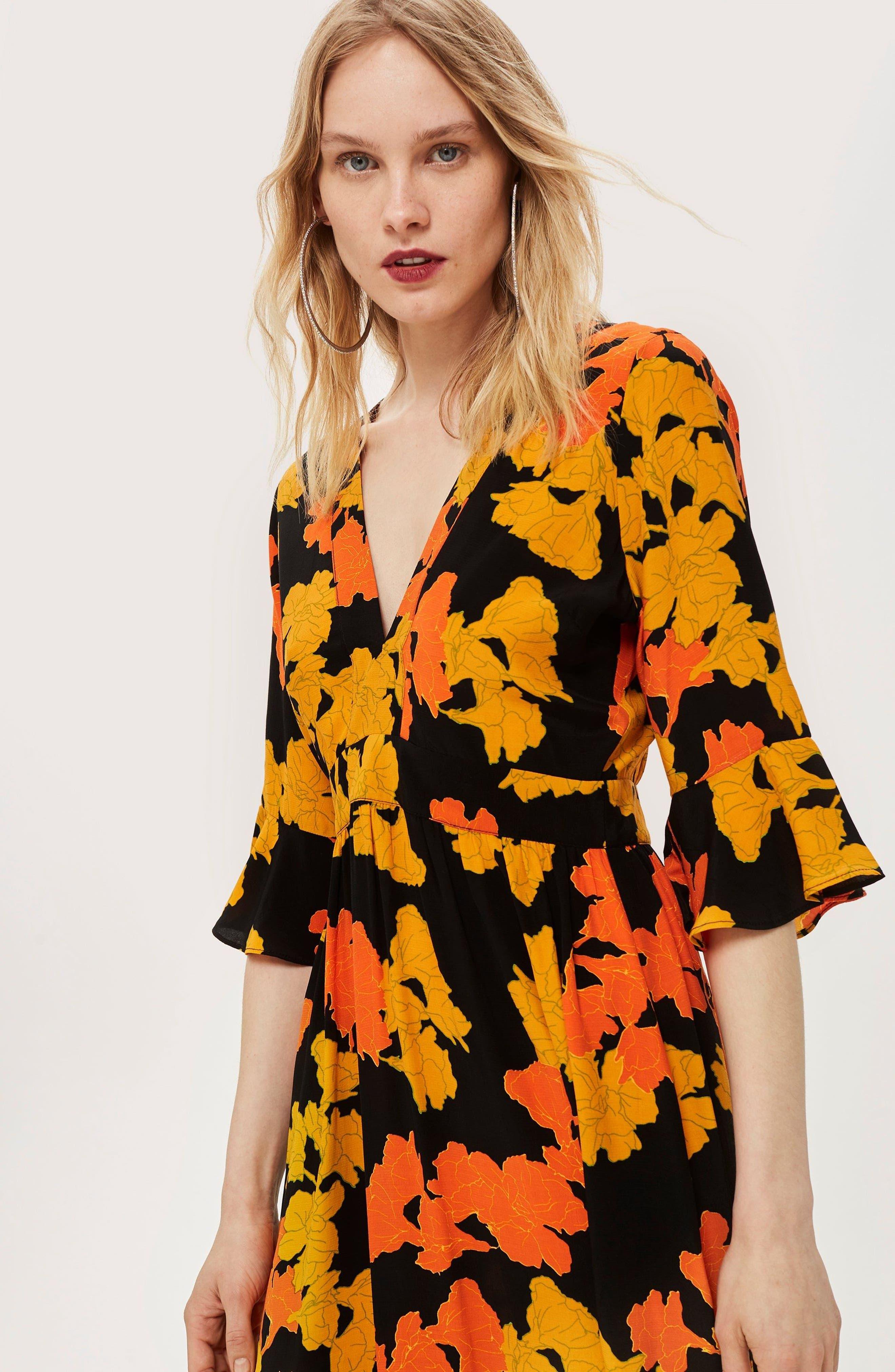 TOPSHOP,                             Bold Floral Midi Dress,                             Alternate thumbnail 8, color,                             001