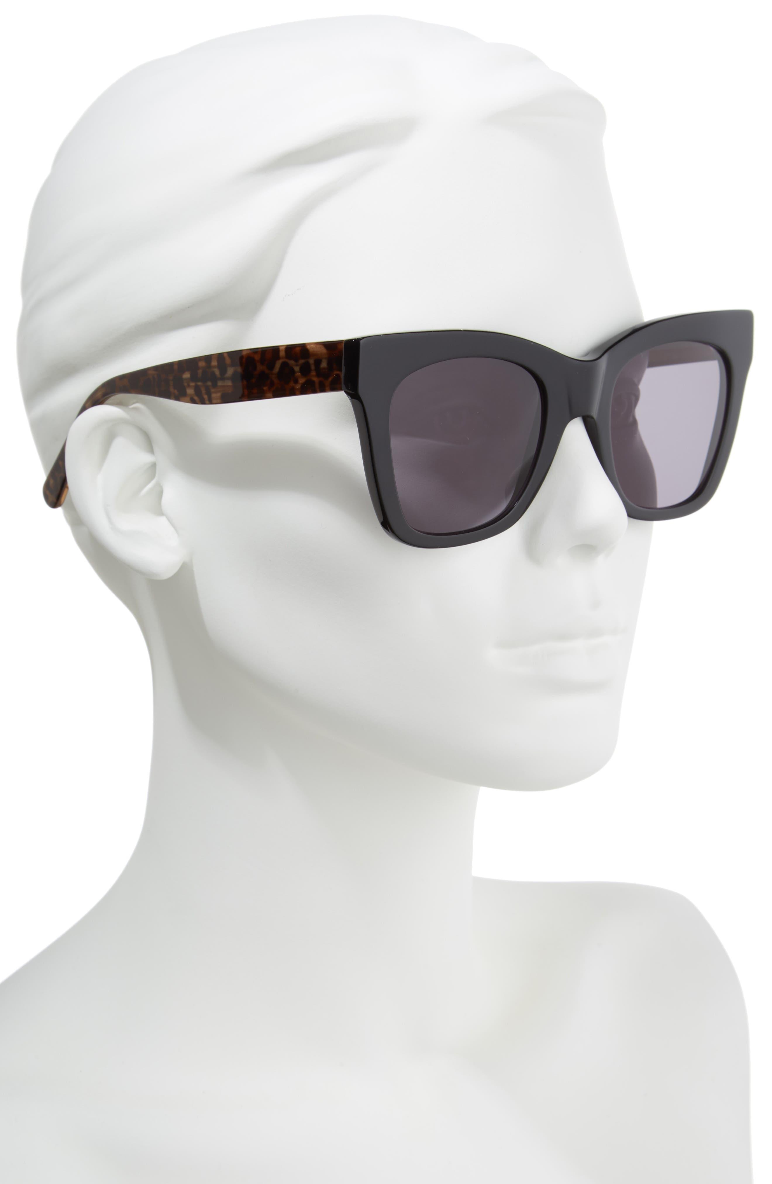 D'BLANC Beach Vida 52mm Sunglasses,                             Alternate thumbnail 2, color,                             BLACK CHEETAH/ GREY