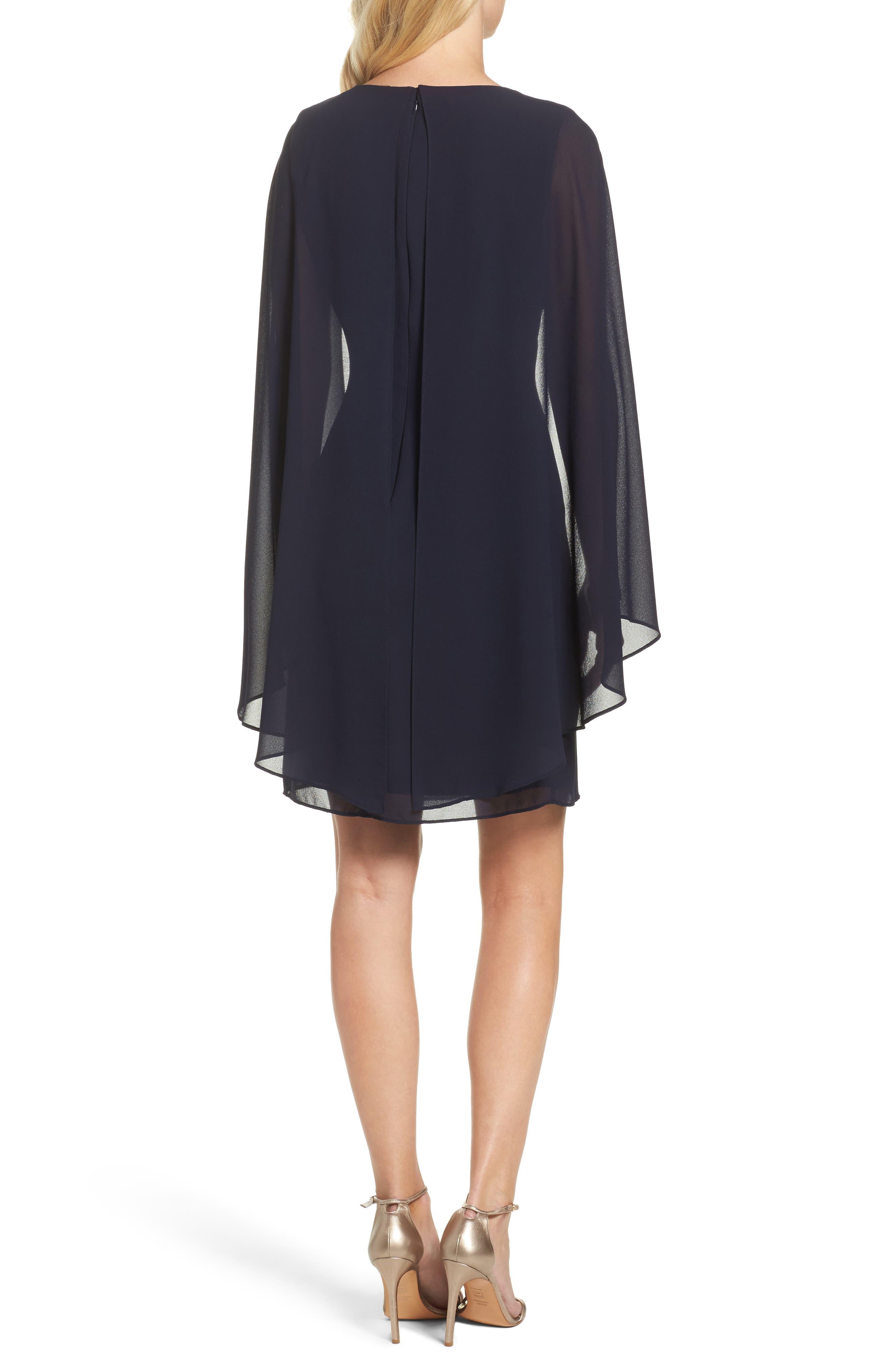 Embellished Caped Sheath Dress,                             Alternate thumbnail 2, color,                             410