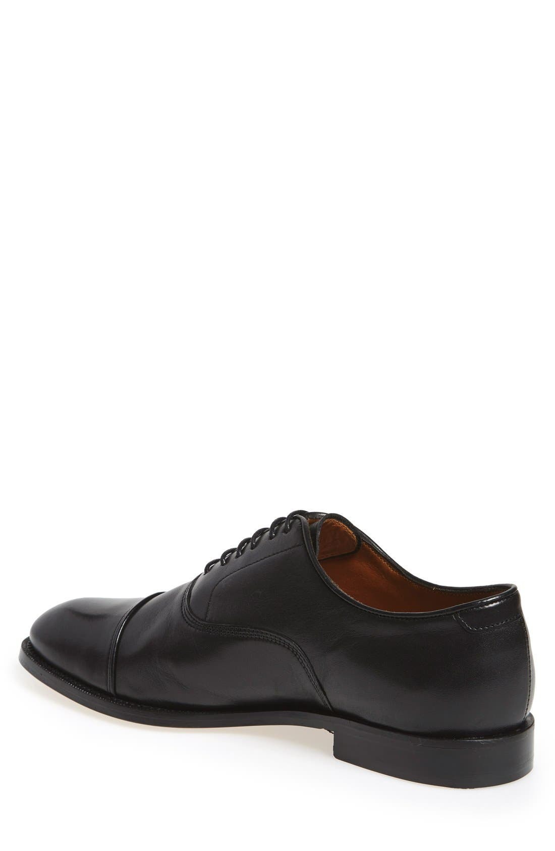 'Eeric' Cap Toe Oxford,                             Alternate thumbnail 2, color,                             BLACK LEATHER