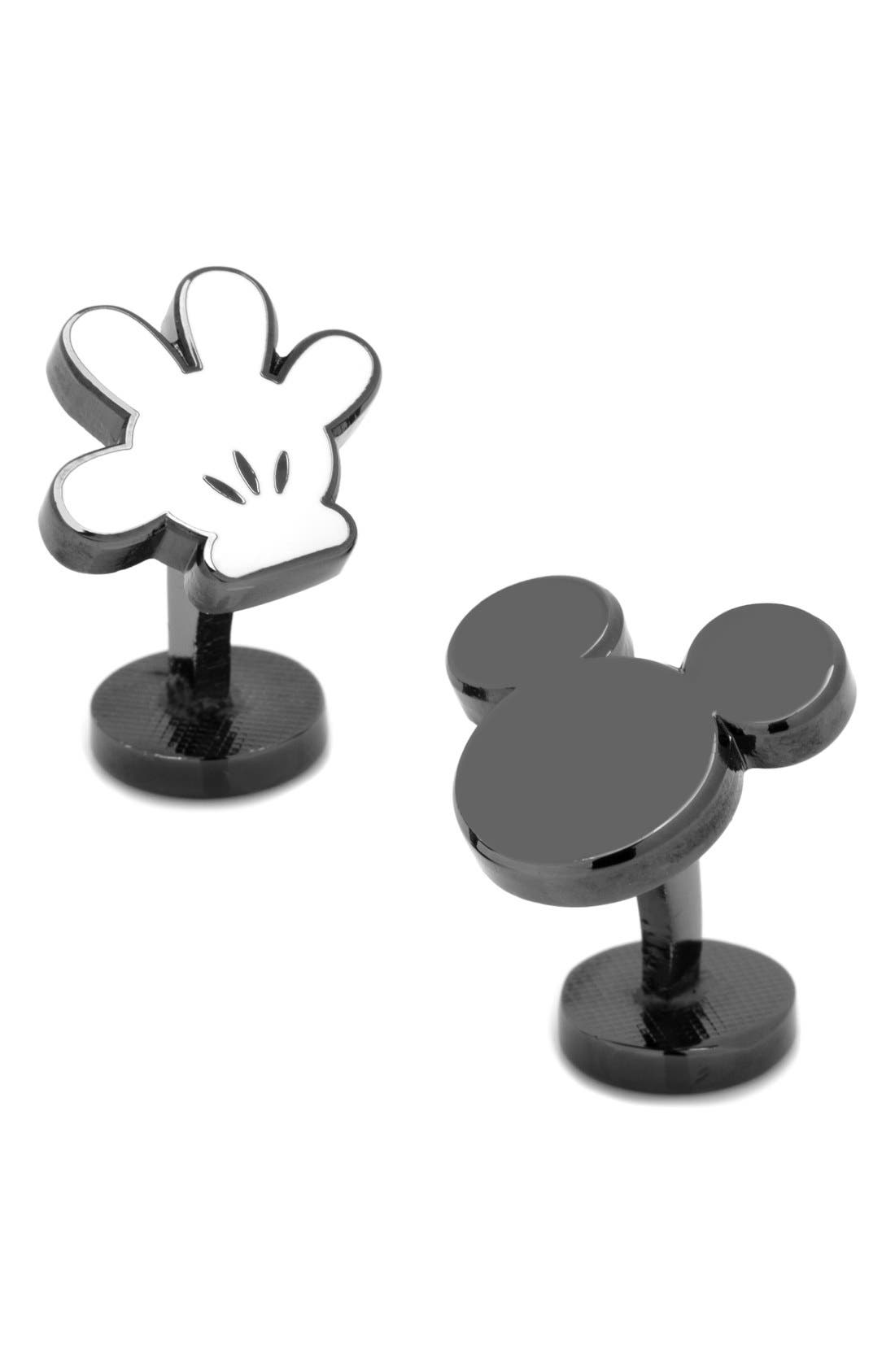 Mickey Mouse Cuff Links,                             Main thumbnail 1, color,                             BLACK