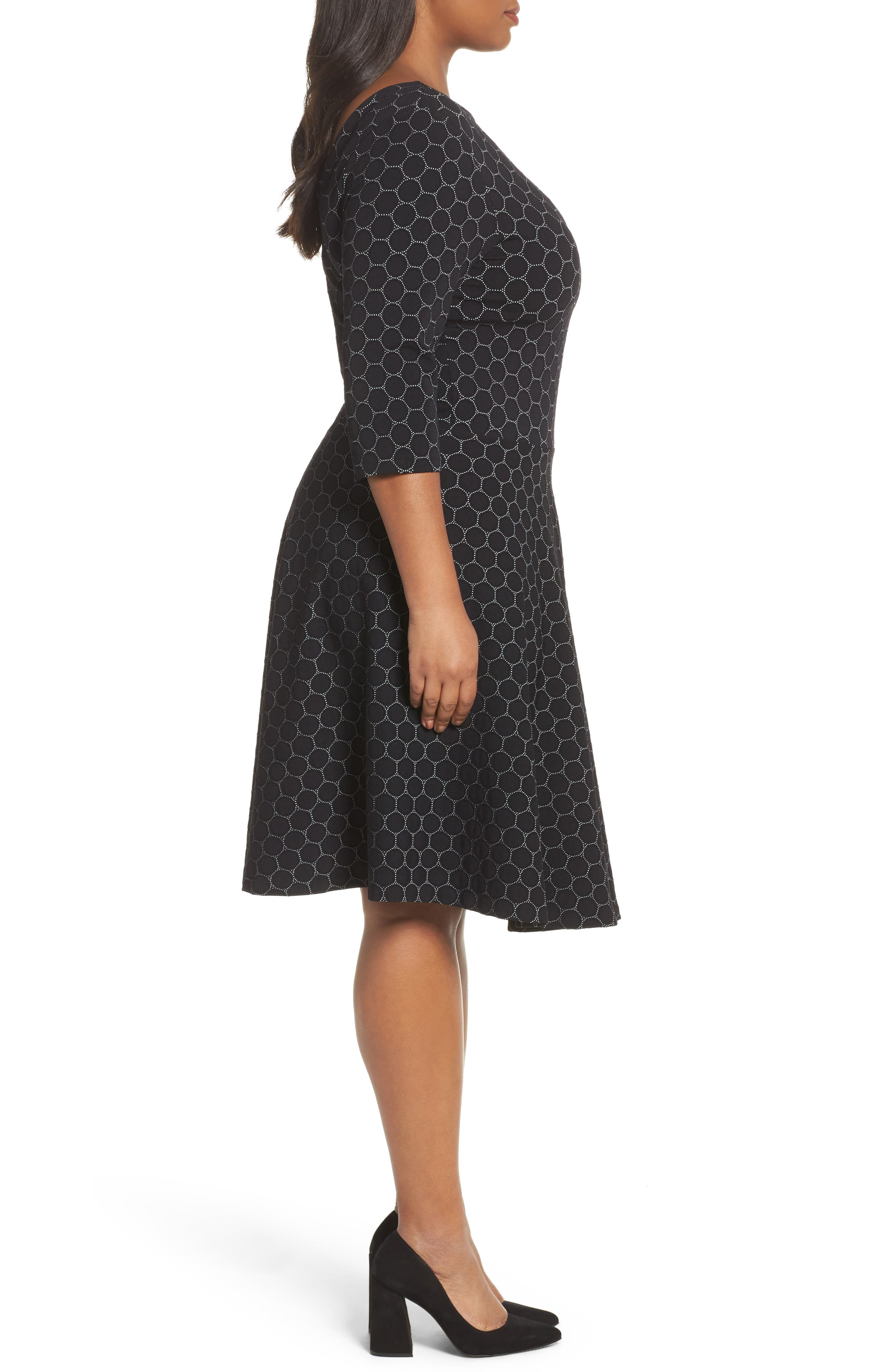 Circle Knit Fit & Flare Dress,                             Alternate thumbnail 3, color,                             BLACK LUXE