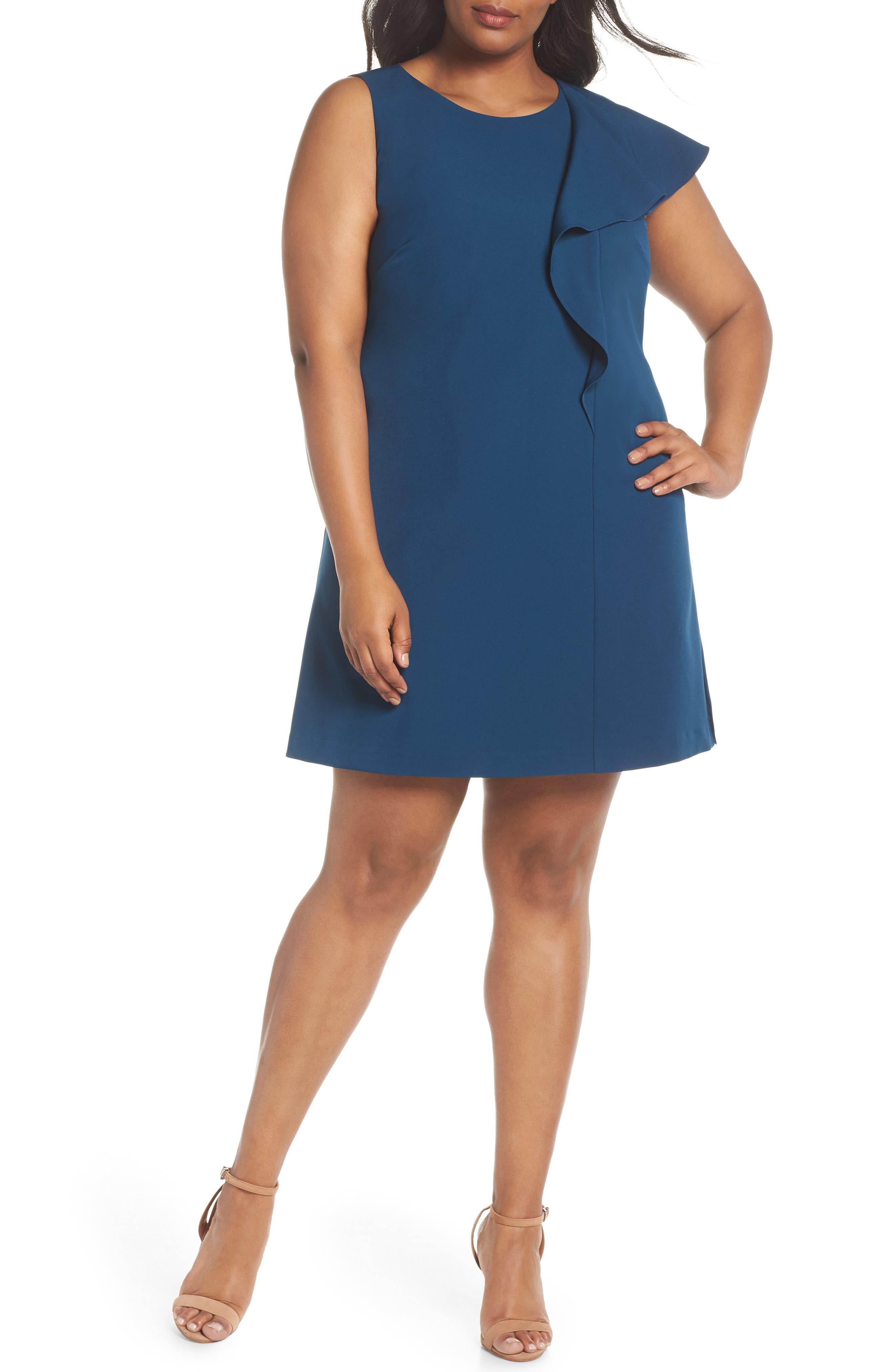 Ruffle Crepe A-Line Dress,                             Main thumbnail 1, color,                             400