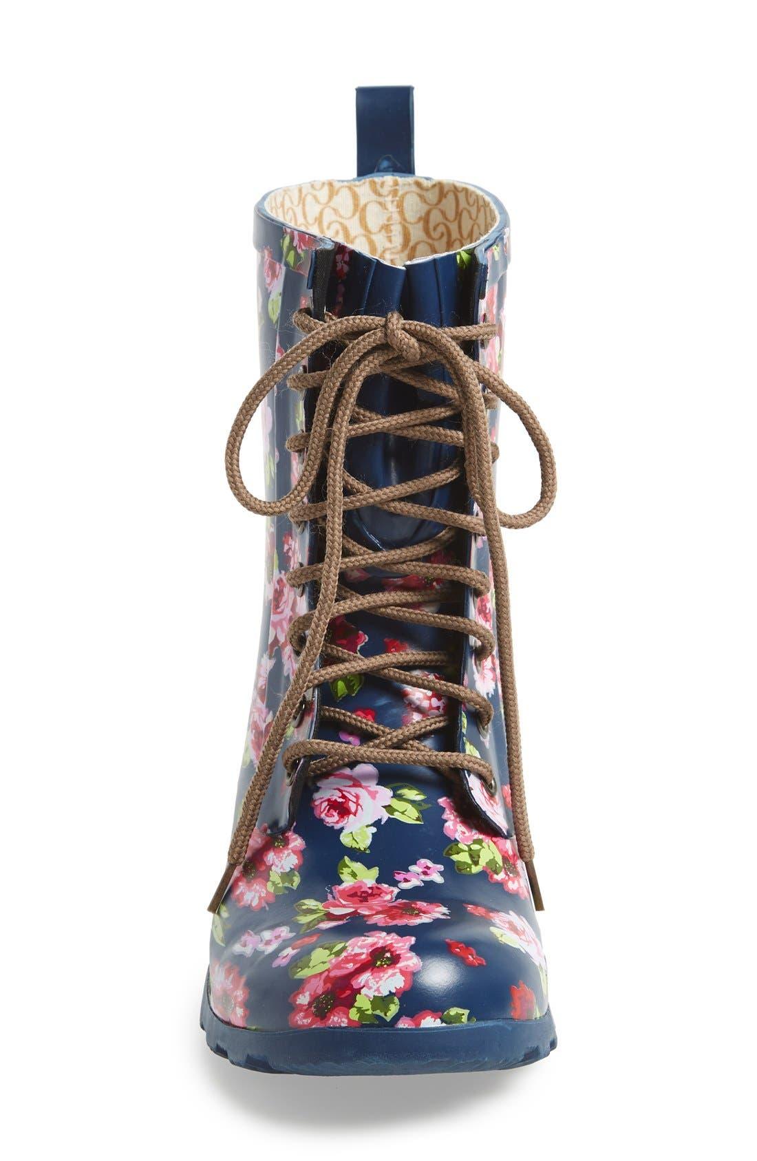Floral Print Combat Rain Boot,                             Alternate thumbnail 4, color,                             421