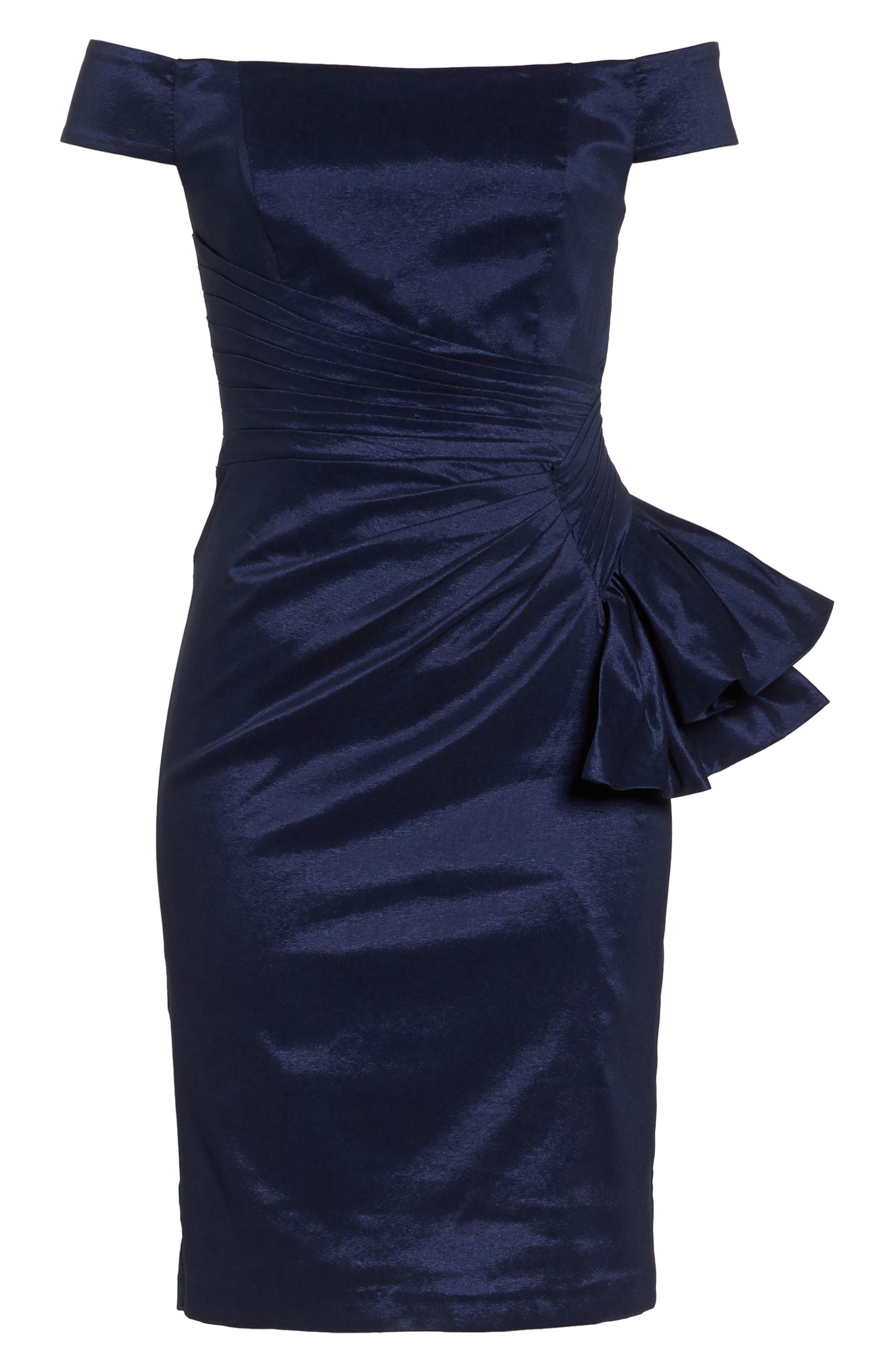 Off the Shoulder Bow Dress,                             Alternate thumbnail 7, color,                             NAVY