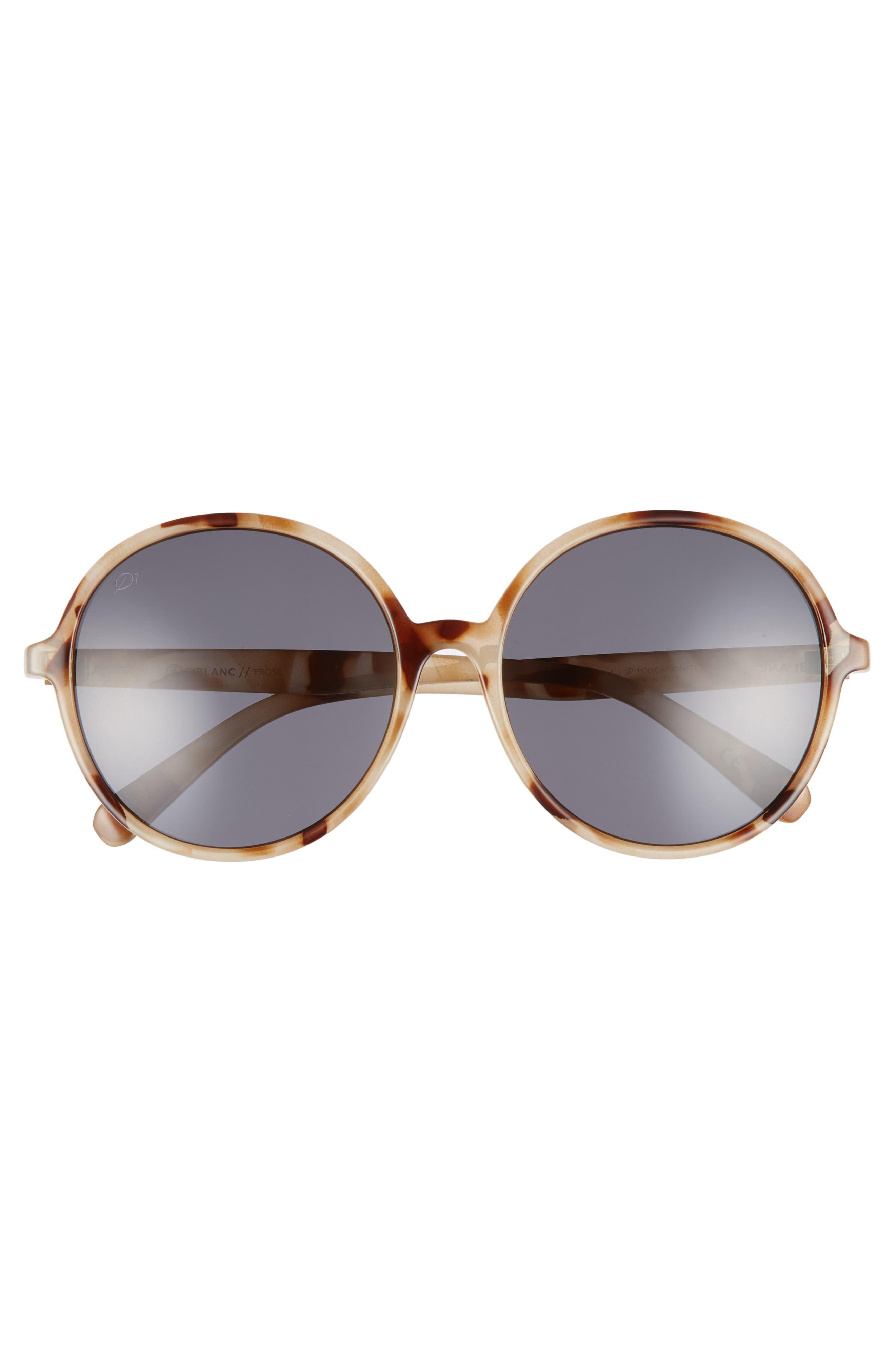 D'BLANC Prose 59mm Round Sunglasses,                             Alternate thumbnail 3, color,                             SNOW LEOPARD/ GREY POLAR