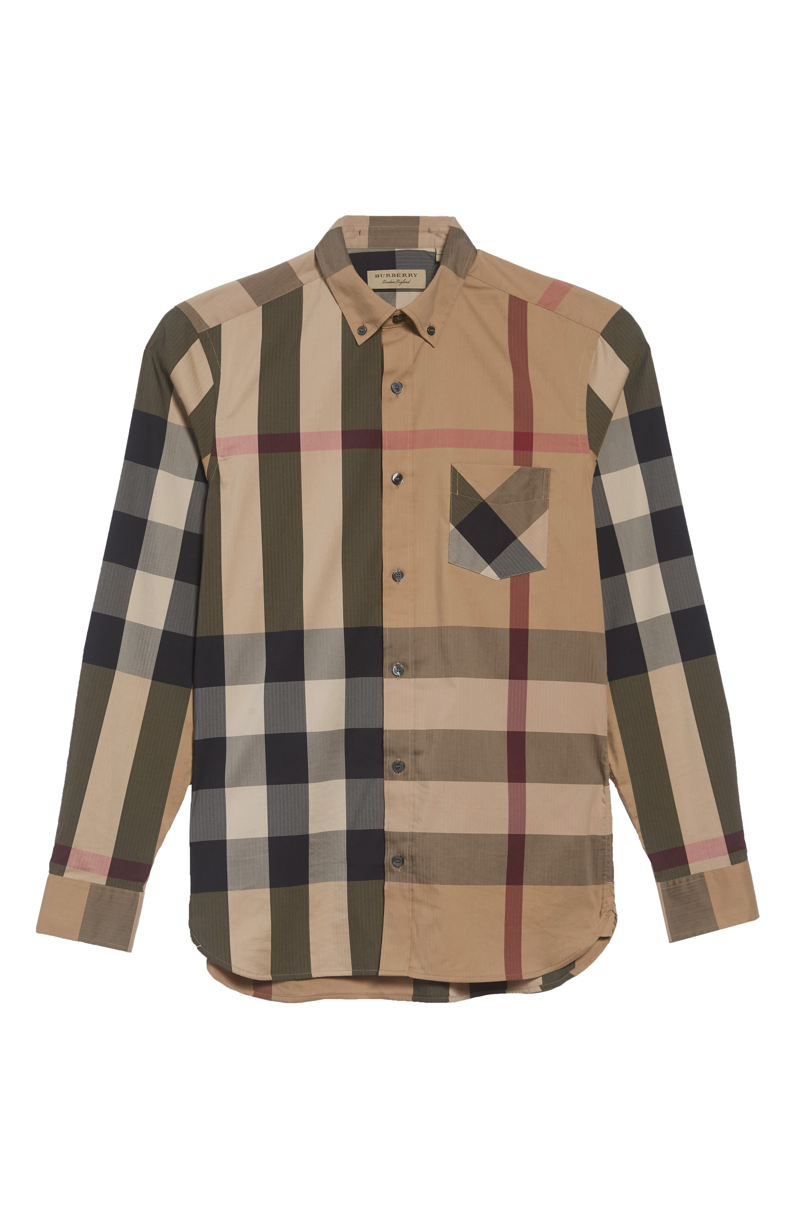 Thornaby Slim Fit Plaid Sportshirt,                             Alternate thumbnail 6, color,                             CAMEL