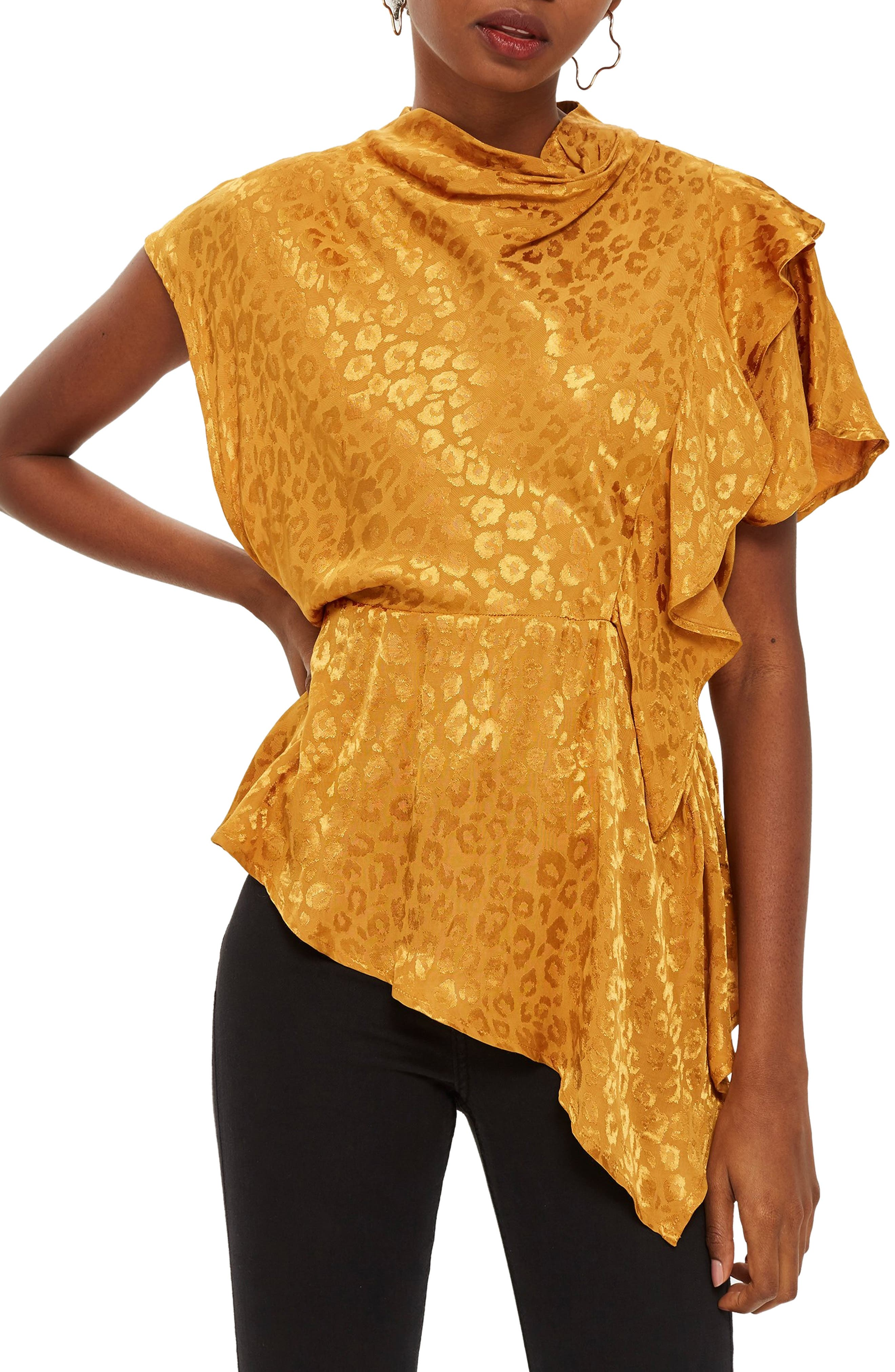 Jacquard Ruffle Blouse,                         Main,                         color, MUSTARD