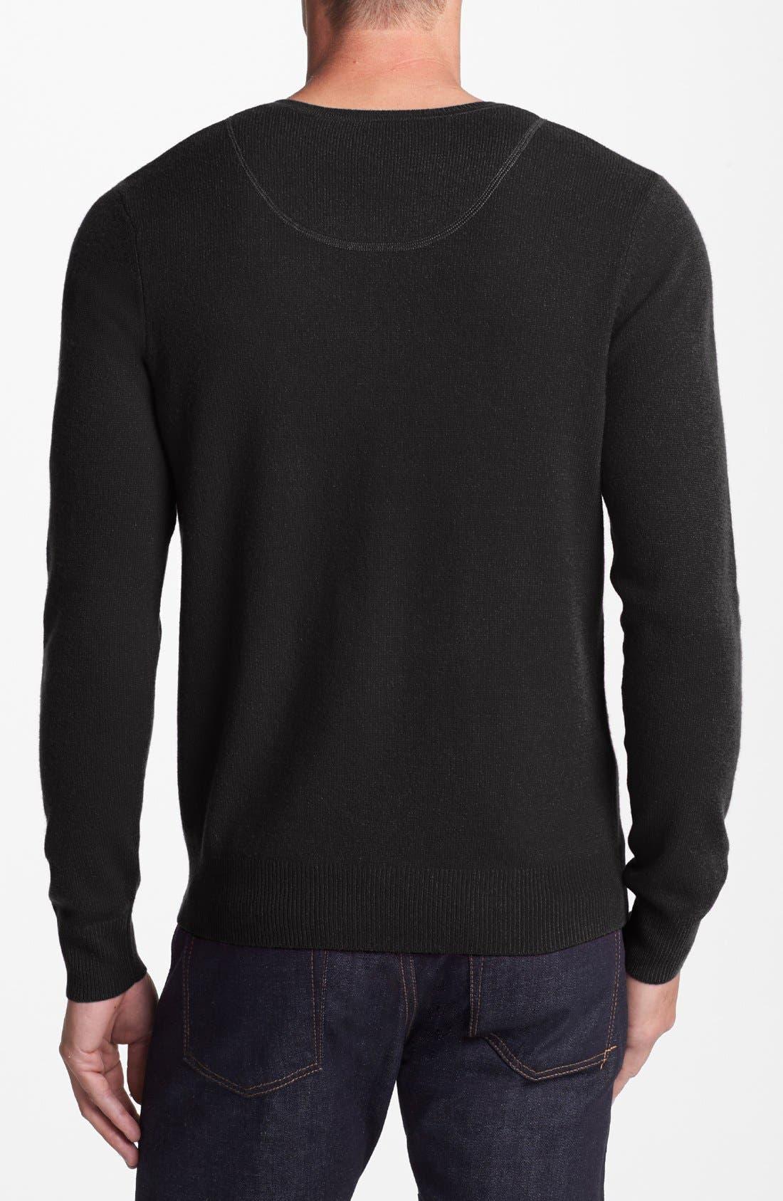 Cashmere V-Neck Sweater,                             Alternate thumbnail 2, color,                             001