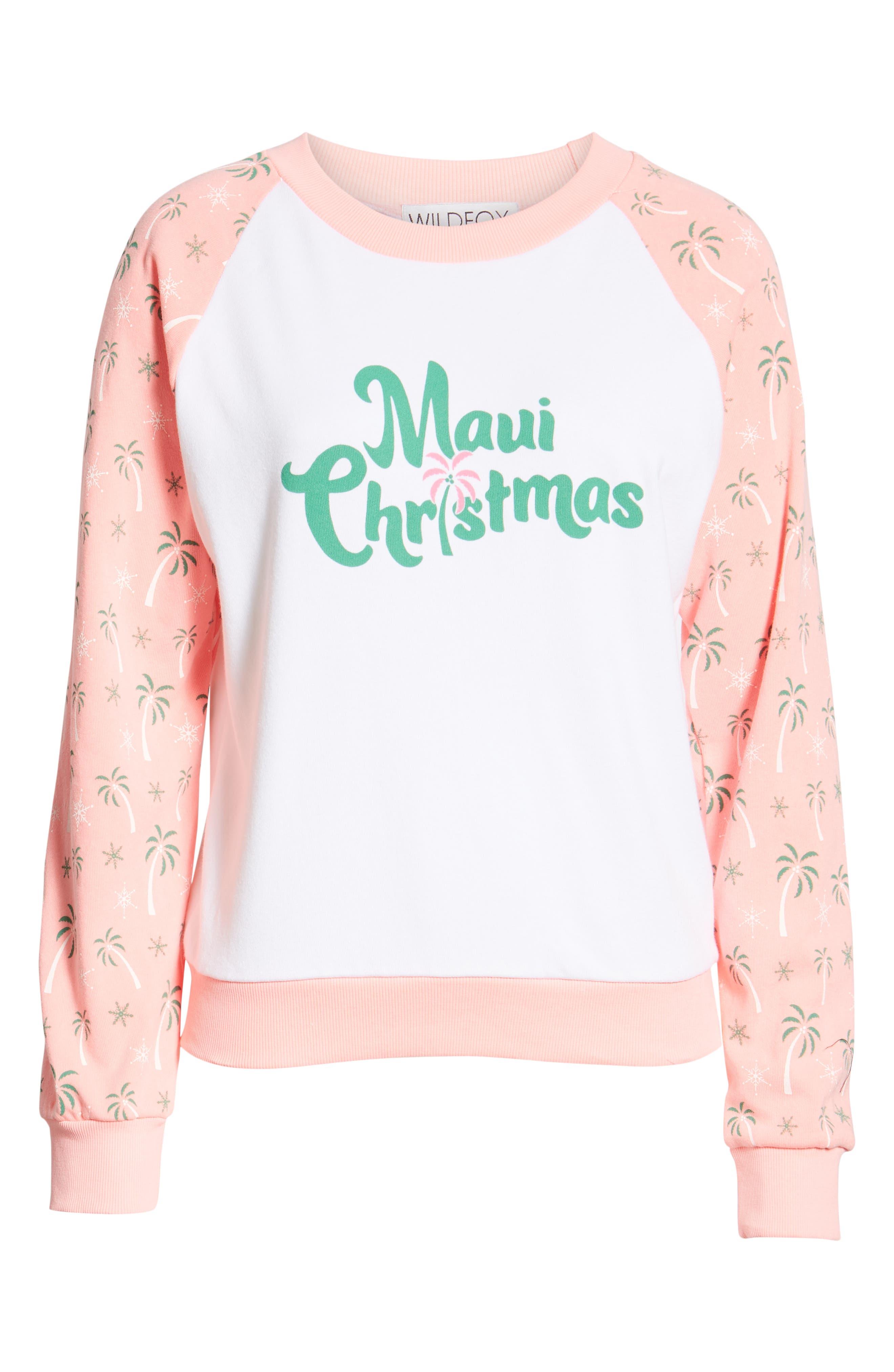 Maui Christmas Fiona Sweatshirt,                             Alternate thumbnail 6, color,                             CLEAN WHITE NEON SIGN