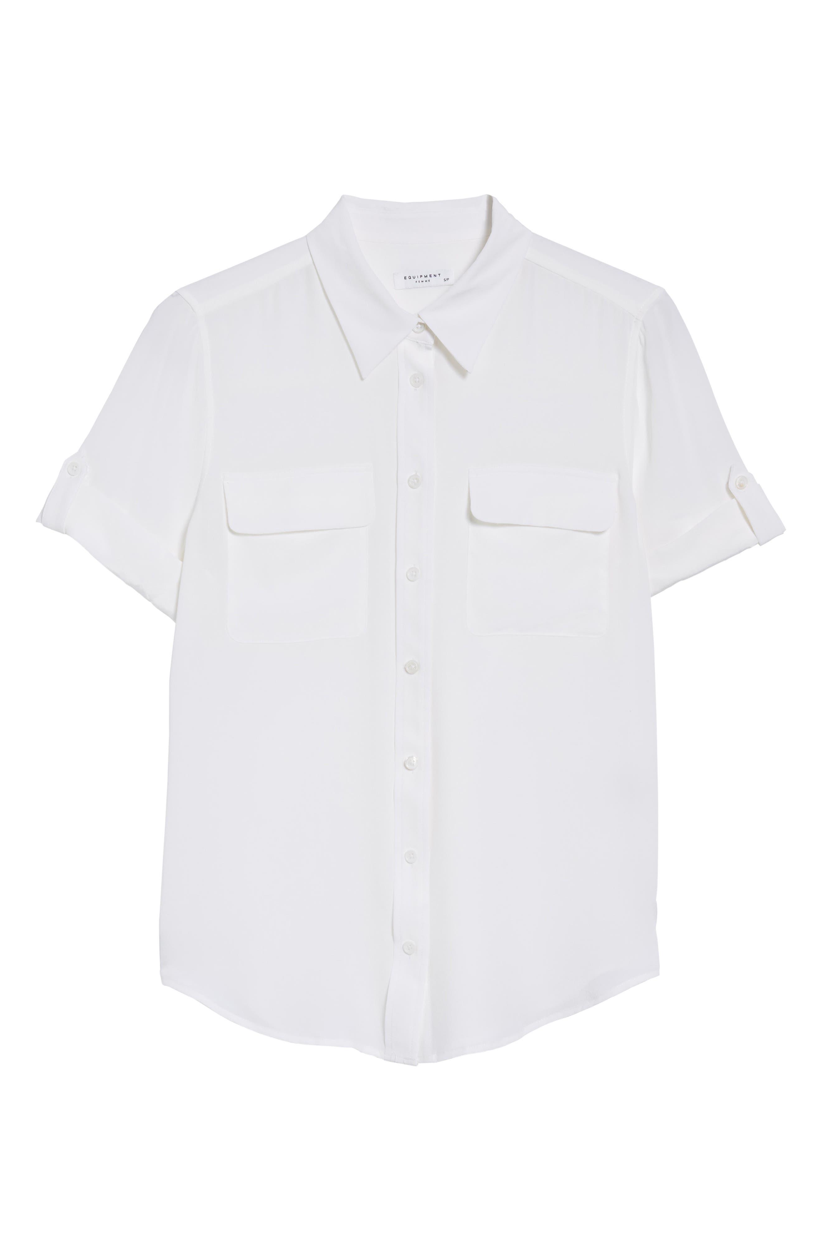 Slim Signature Short Sleeve Silk Shirt,                             Alternate thumbnail 7, color,                             111