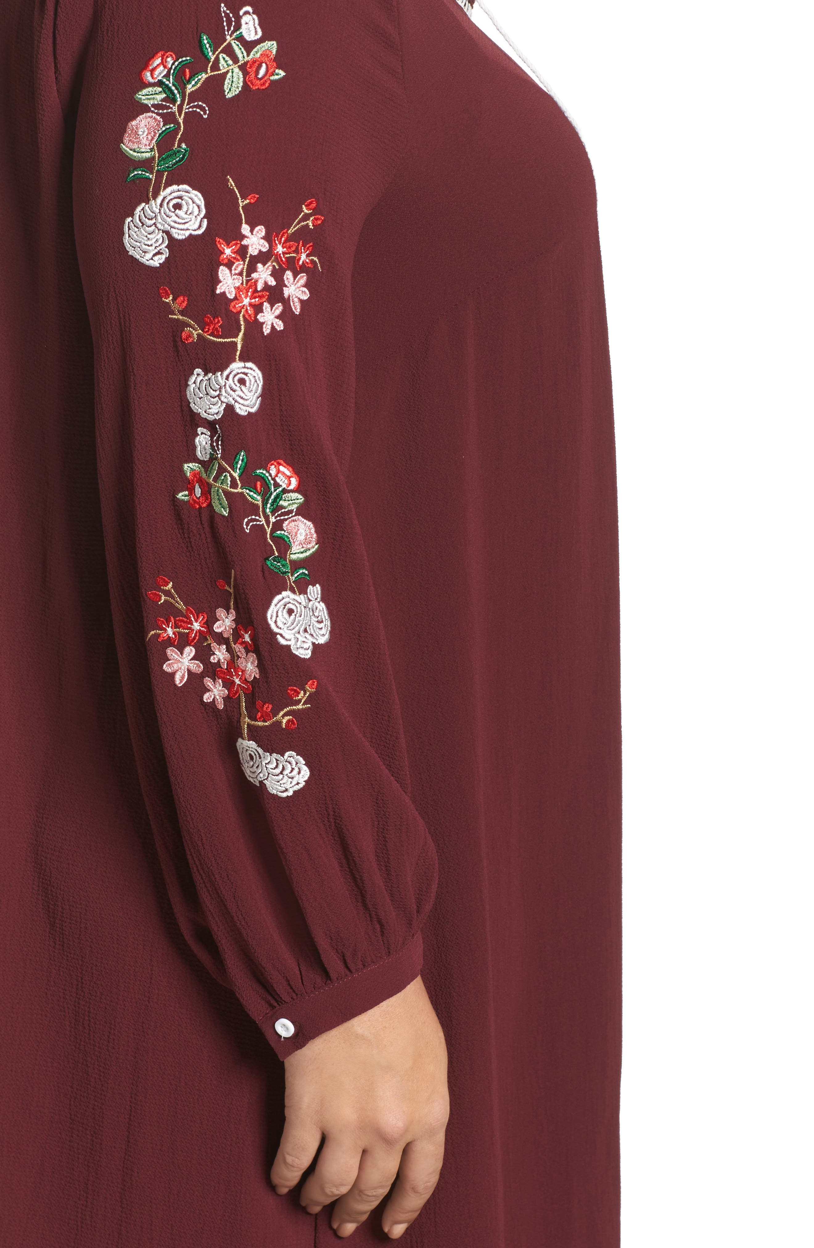 Floral Embroidered Shift Dress,                             Alternate thumbnail 8, color,