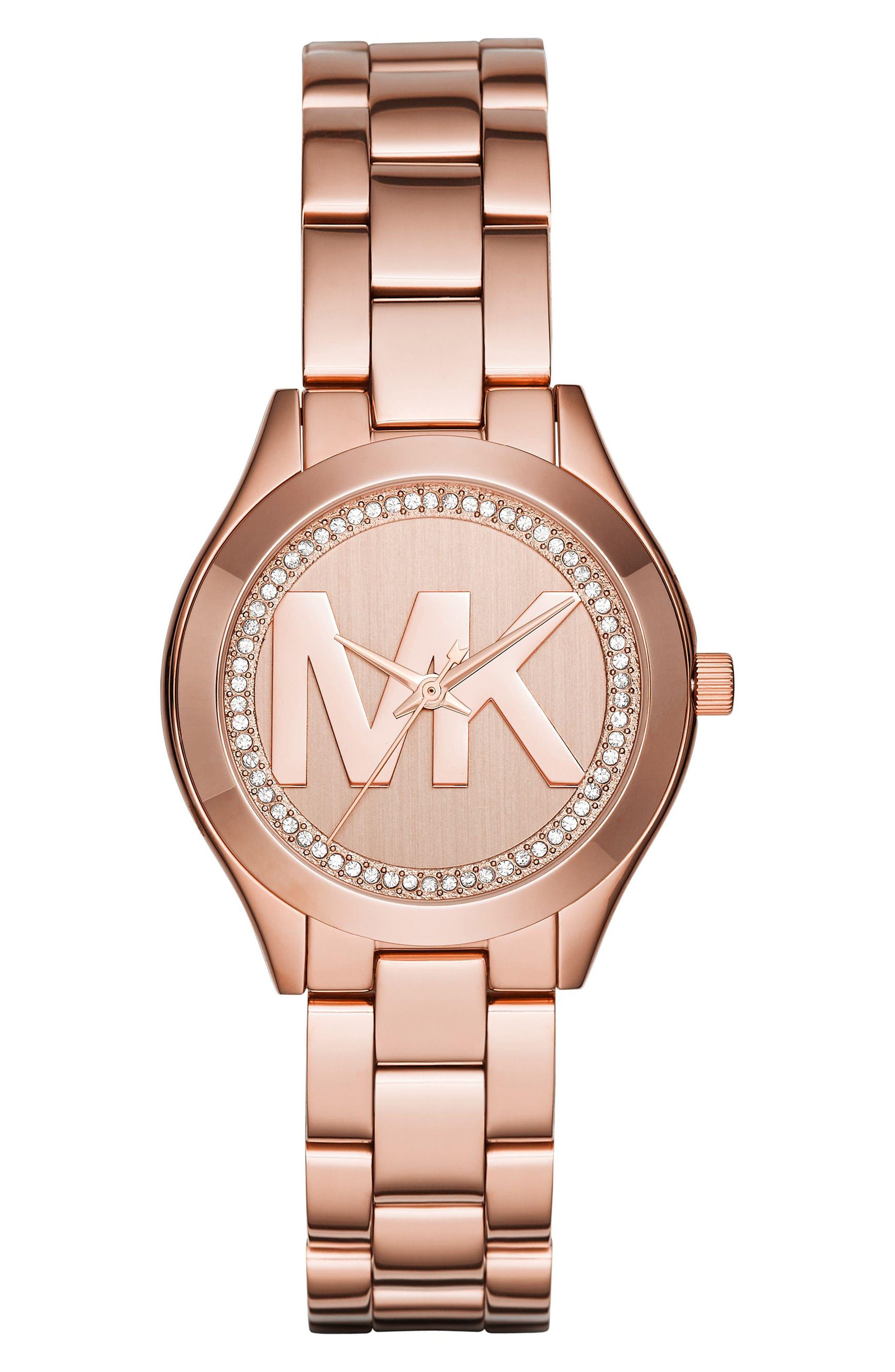 Mini Slim Runway Crystal Bracelet Watch, 33mm,                             Main thumbnail 2, color,