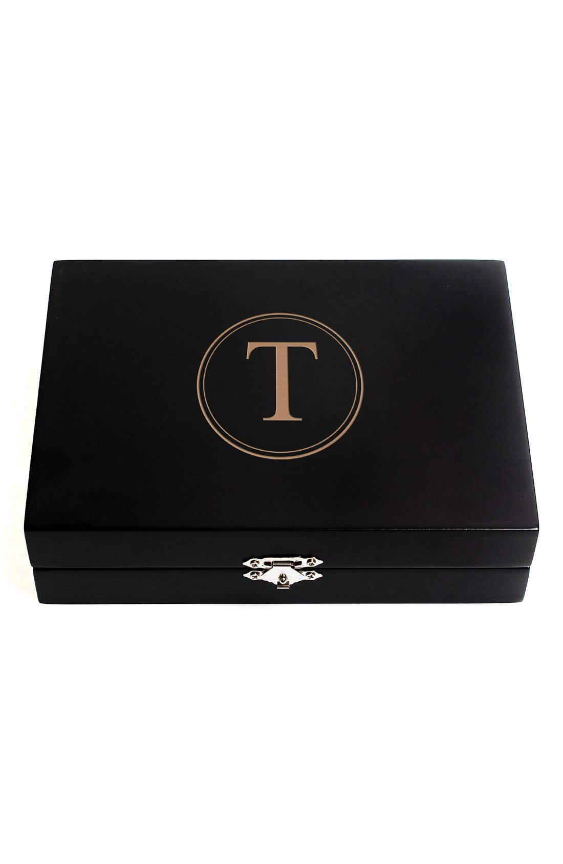 Monogram Wooden Jewelry Box,                             Main thumbnail 22, color,